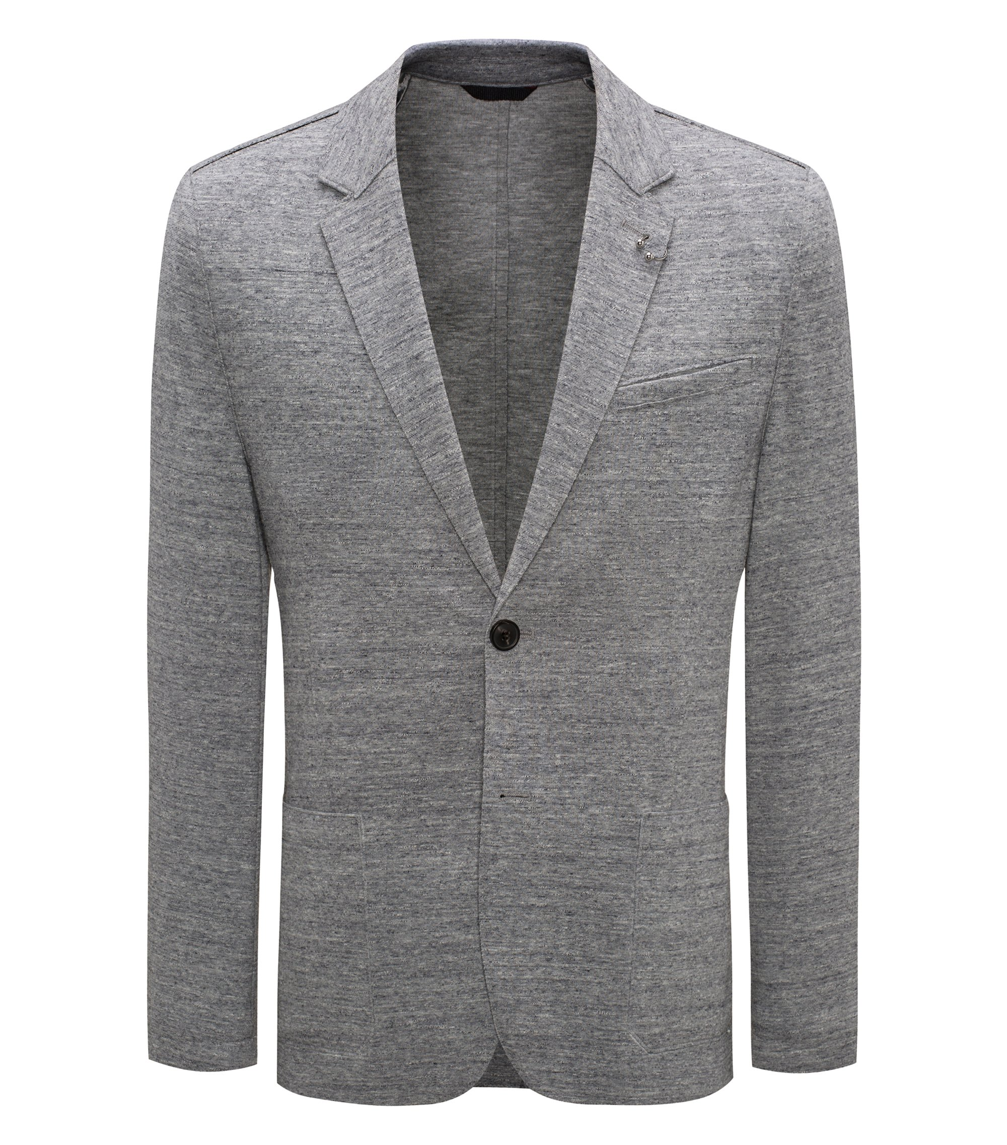 Giacca extra slim fit in tessuto mélange, Grigio