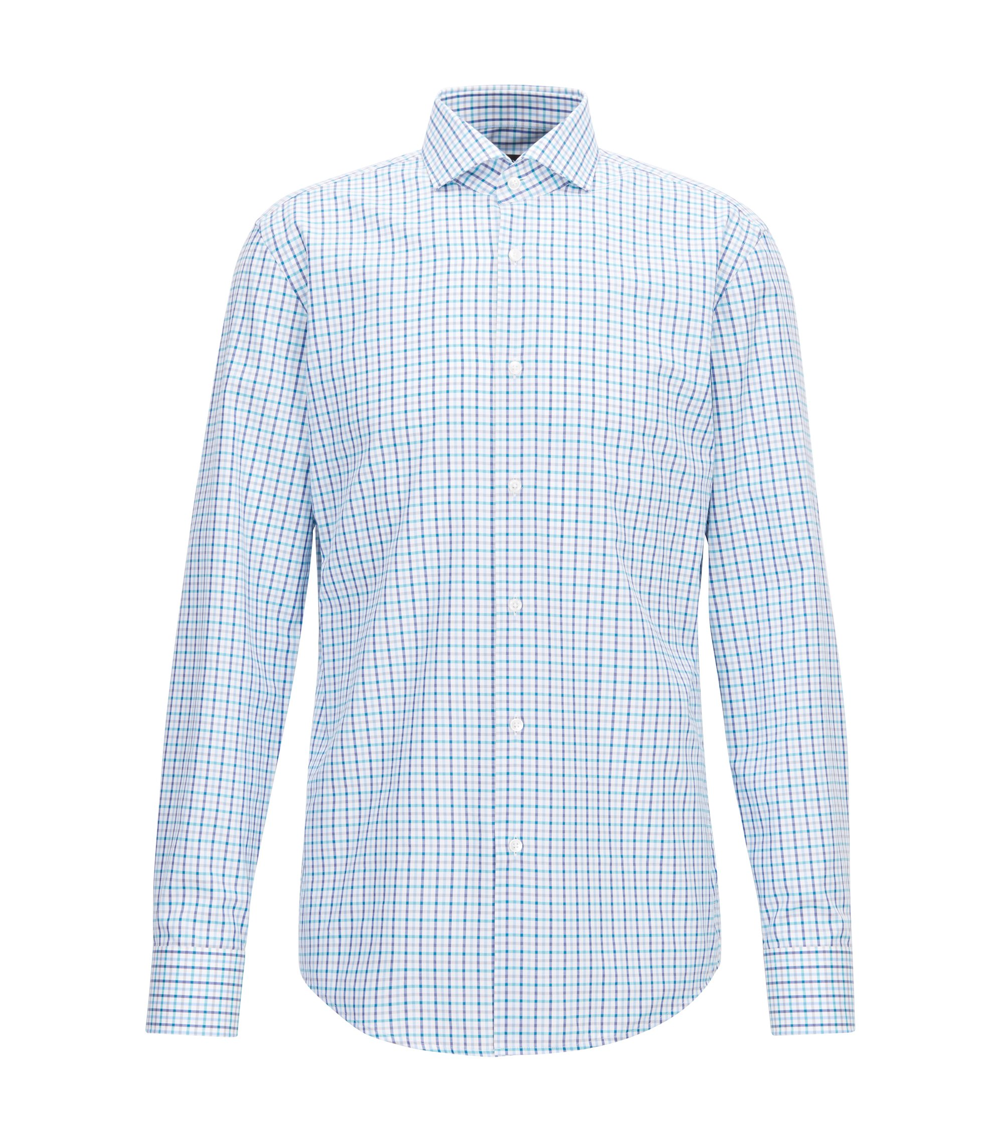 Slim-fit shirt in three-coloured gingham check, Green