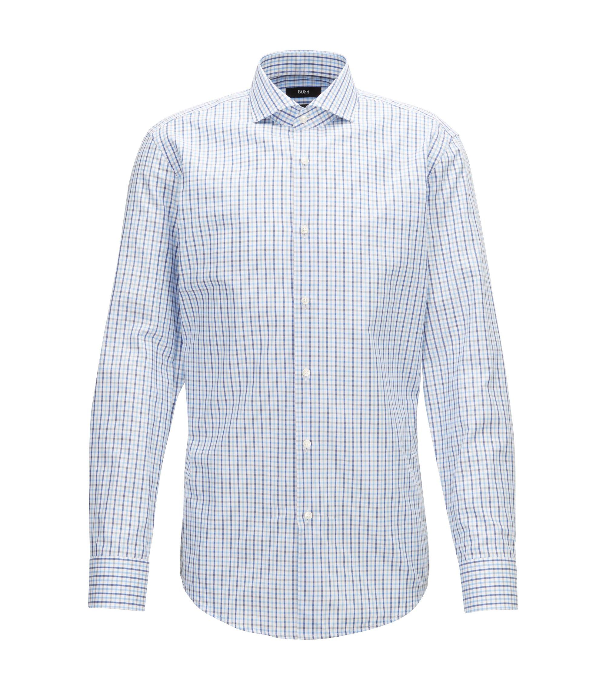 Slim-Fit Hemd aus Baumwolle mit dreifarbigem Vichykaro, Blau