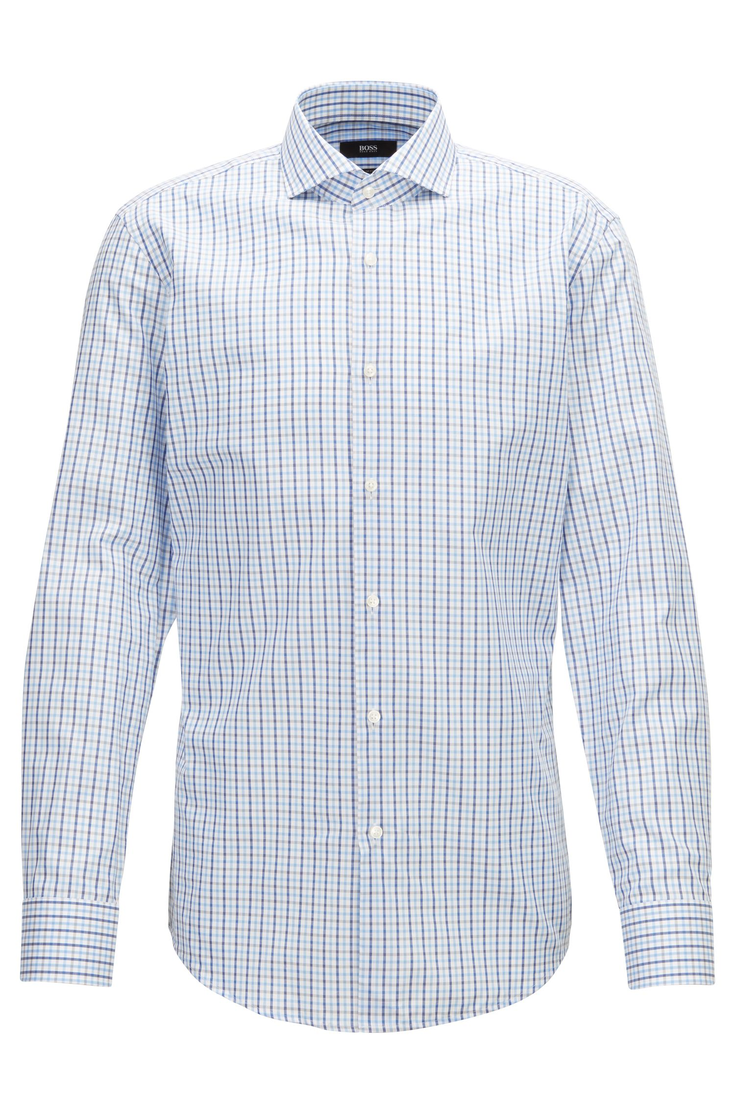 Slim-fit shirt in three-coloured gingham check, Blue