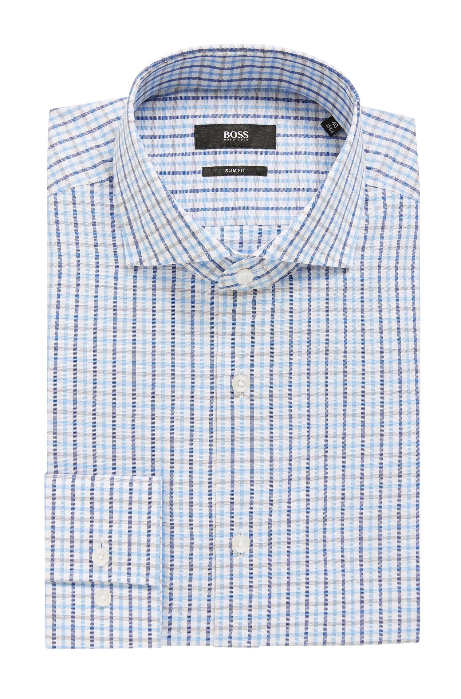 Camicia slim fit in percalle a quadri in tre tonalità, Blu