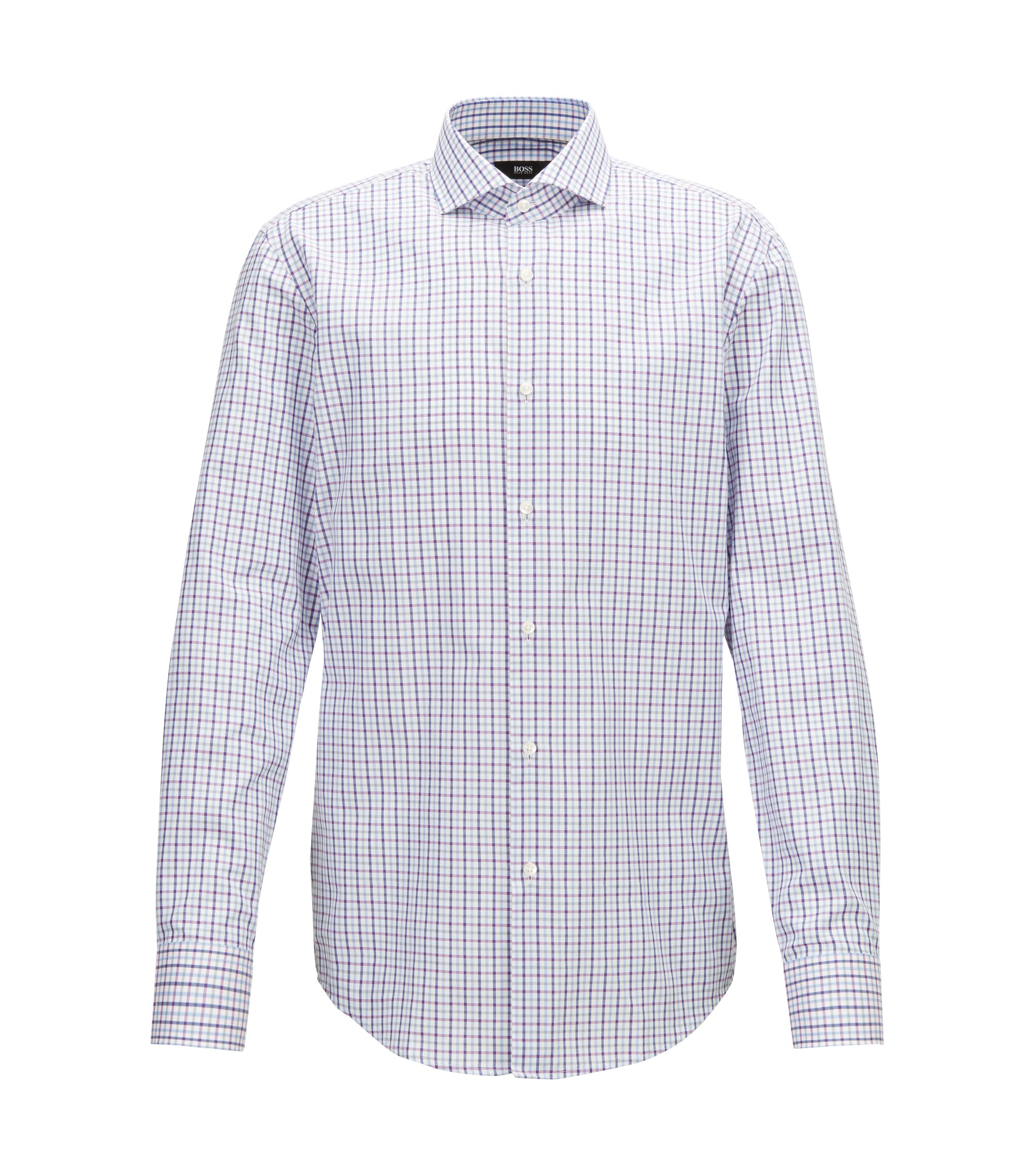 Slim-Fit Hemd aus Baumwolle mit dreifarbigem Vichykaro, Dunkelrosa
