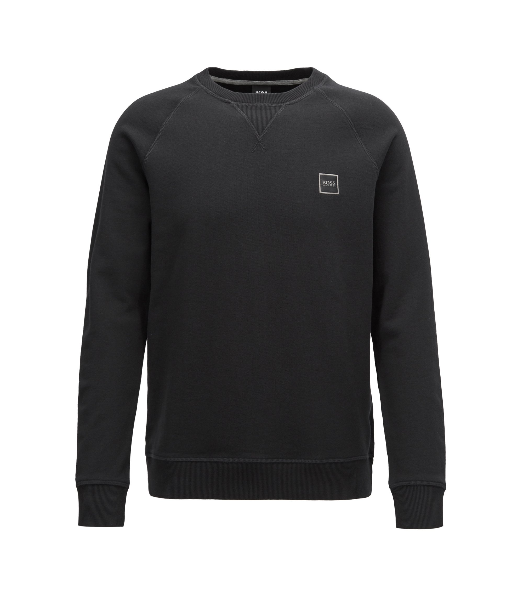 French-terry sweatshirt with logo patch, Black