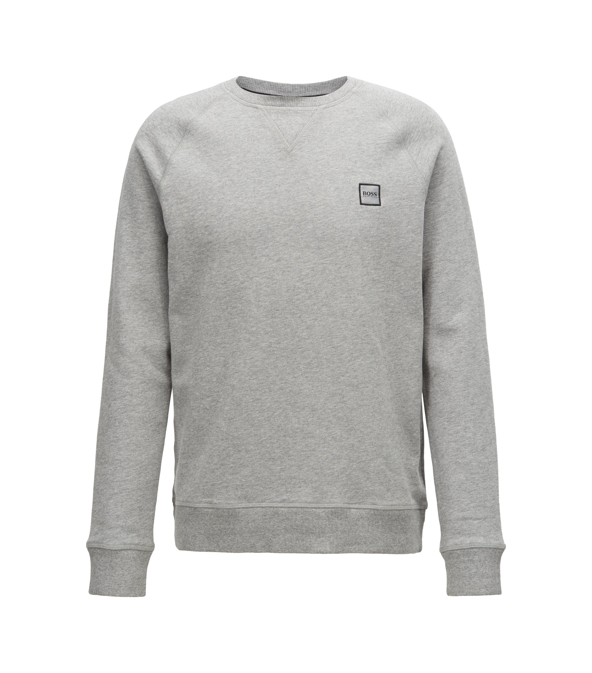 Sweat en molleton French Terry à patch logo, Gris chiné