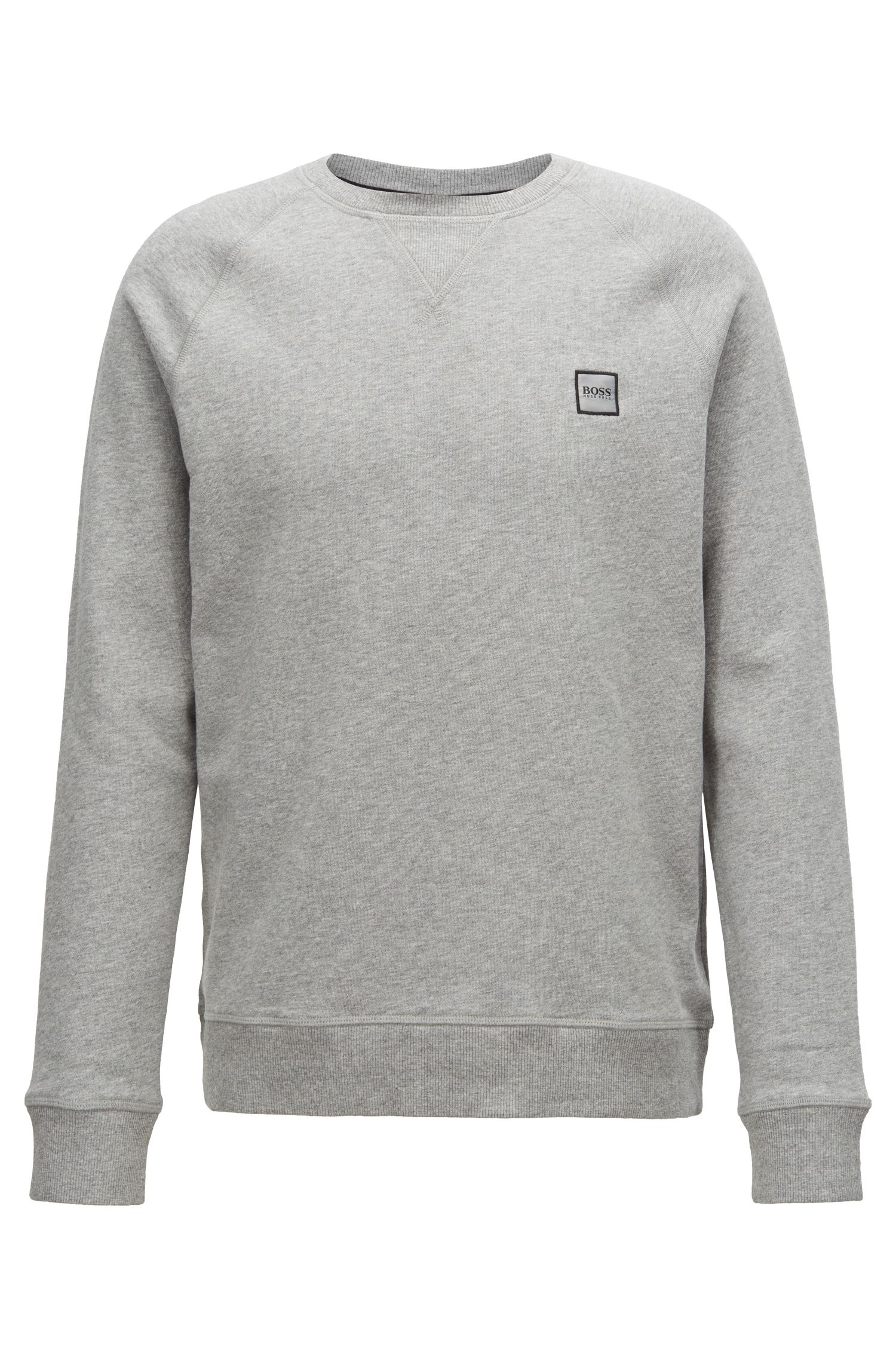 Sweatshirt aus French Terry mit Logo-Patch, Hellgrau