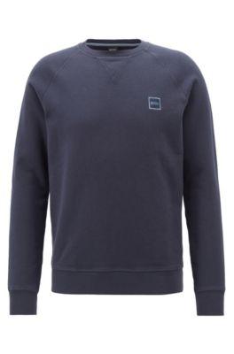 Sweater van badstof met logopatch, Donkerblauw