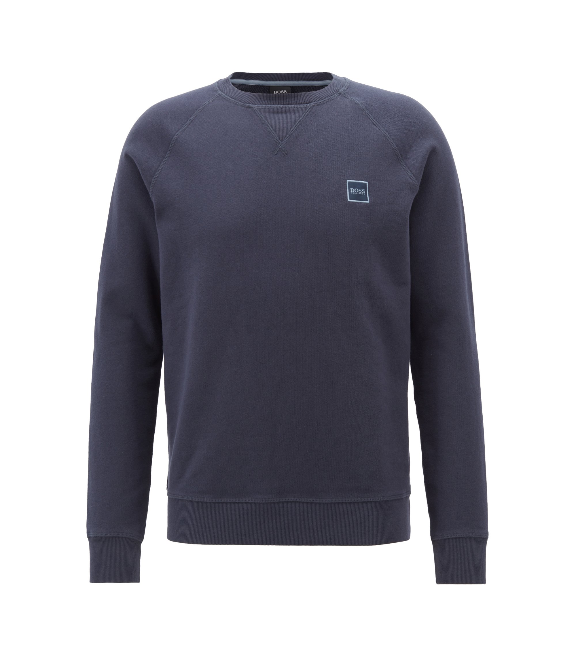 French-terry sweatshirt with logo patch, Dark Blue