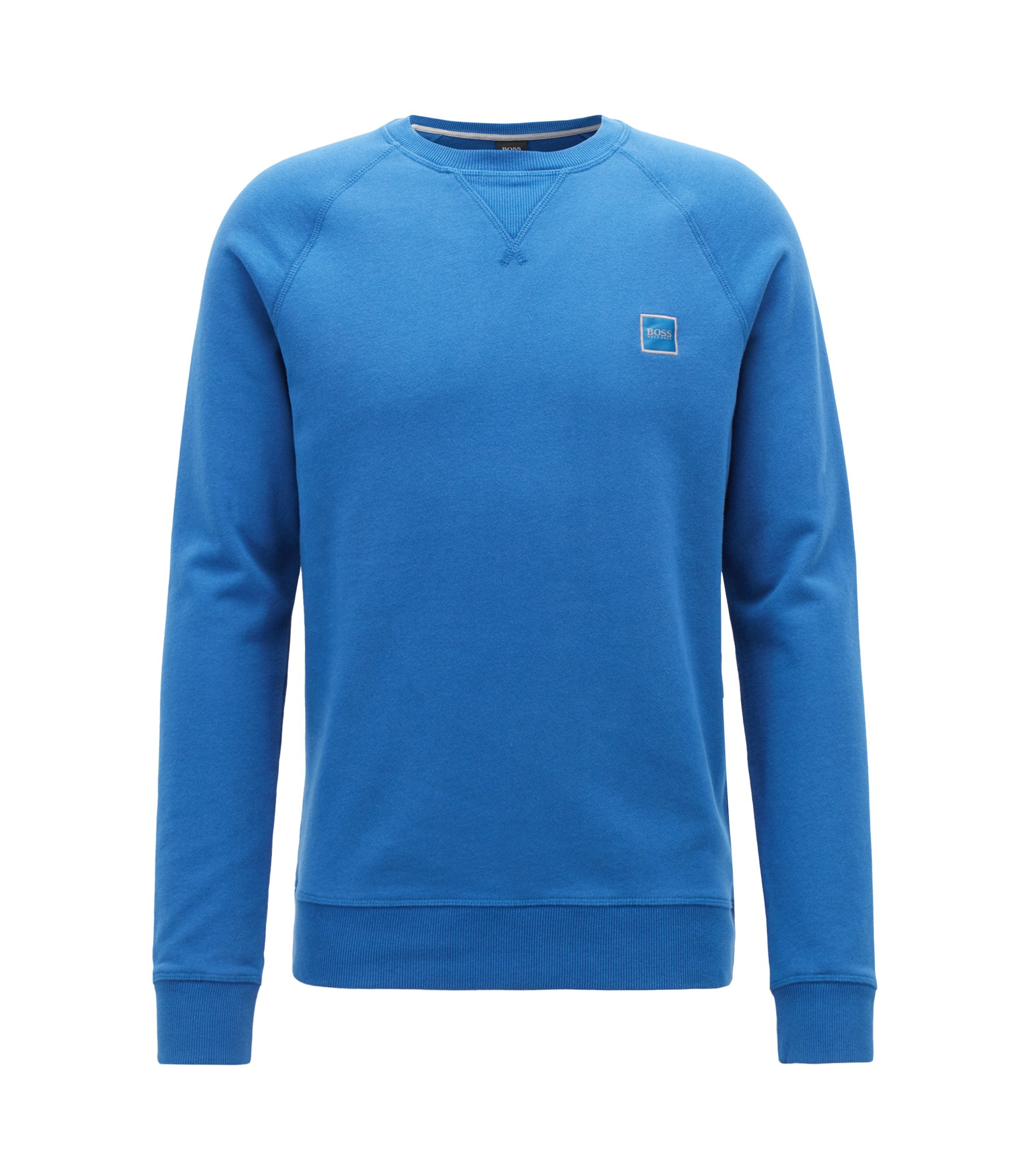 French-terry sweatshirt with logo patch, Open Blue