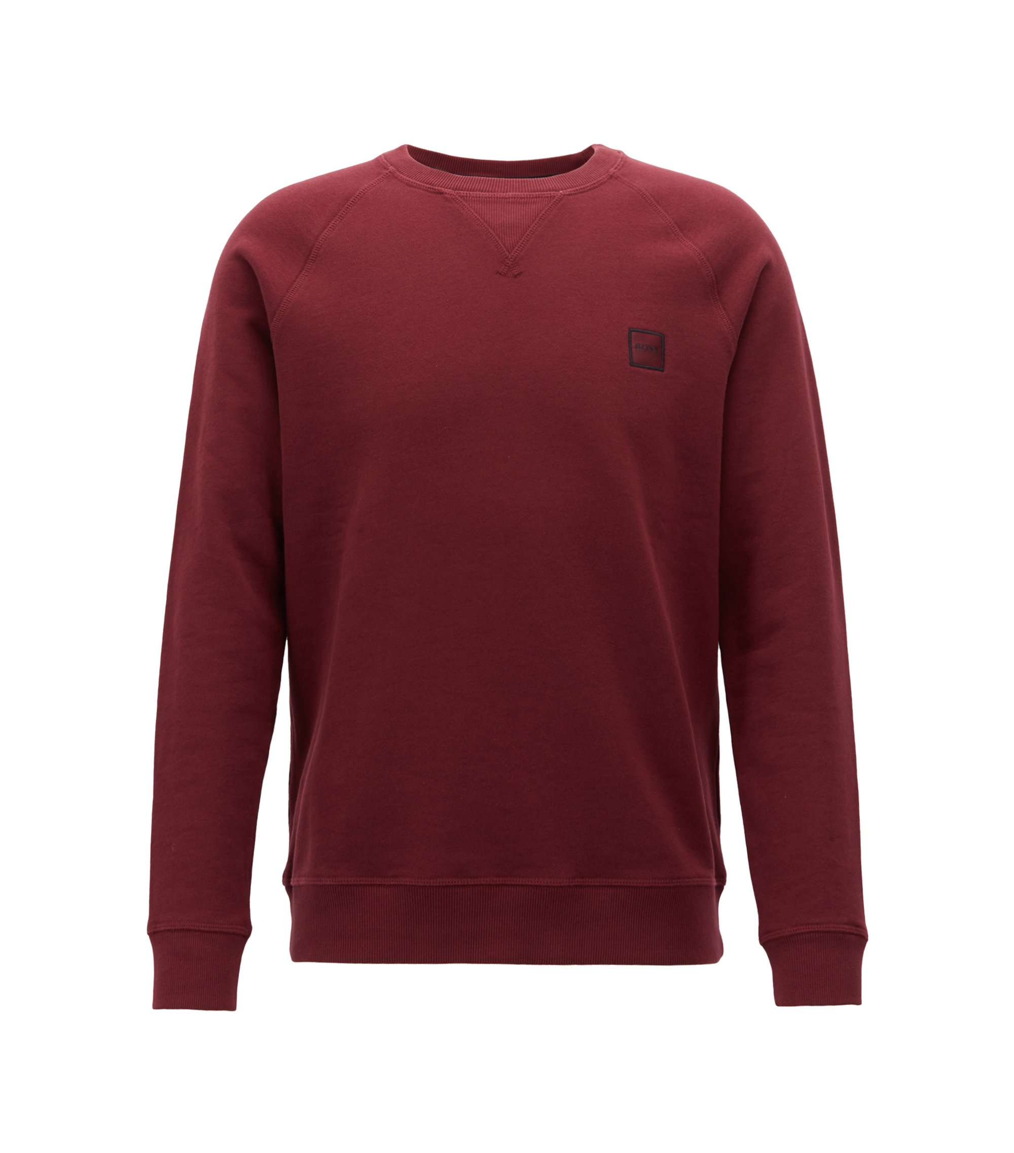 French-terry sweatshirt with logo patch, Dark Red