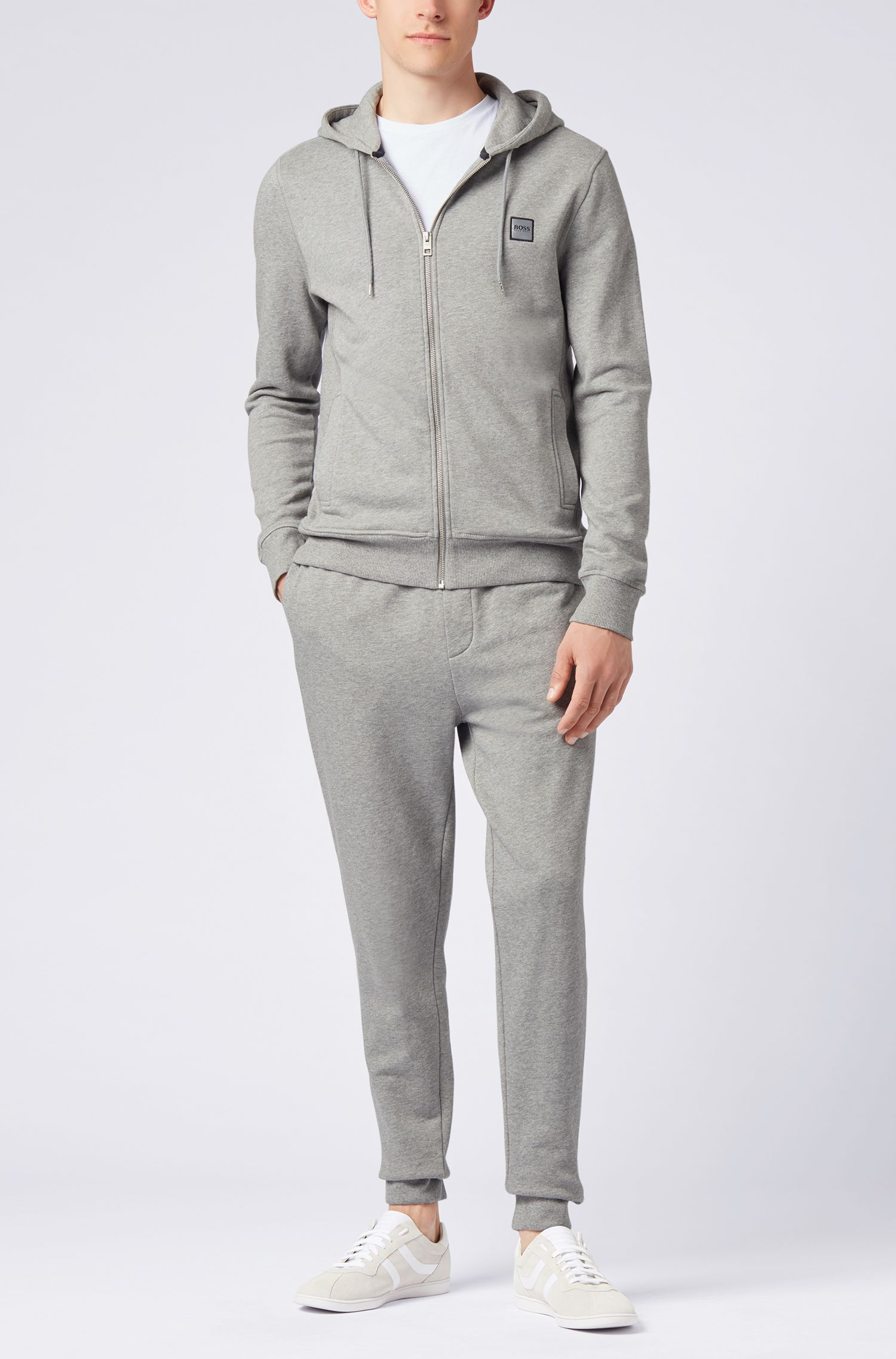 Hooded jacket in French terry with ribbed inserts, Light Grey