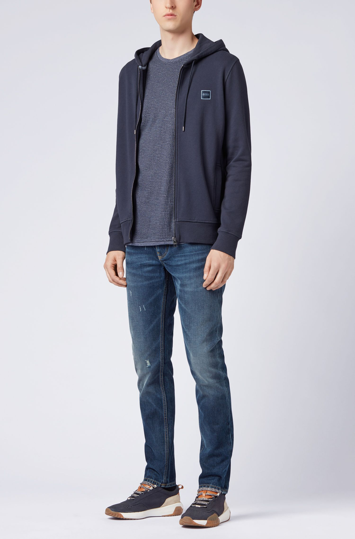 Hooded jacket in French terry with ribbed inserts, Dark Blue