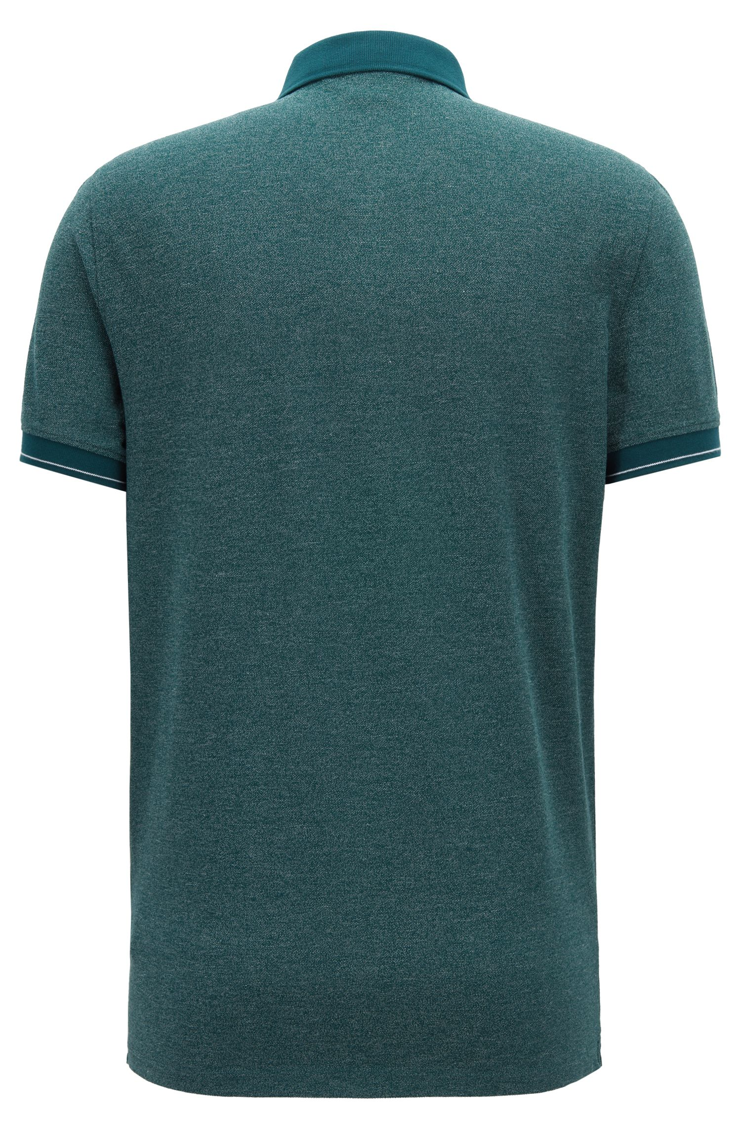 Denim-look polo shirt with contrast details, Dark Green