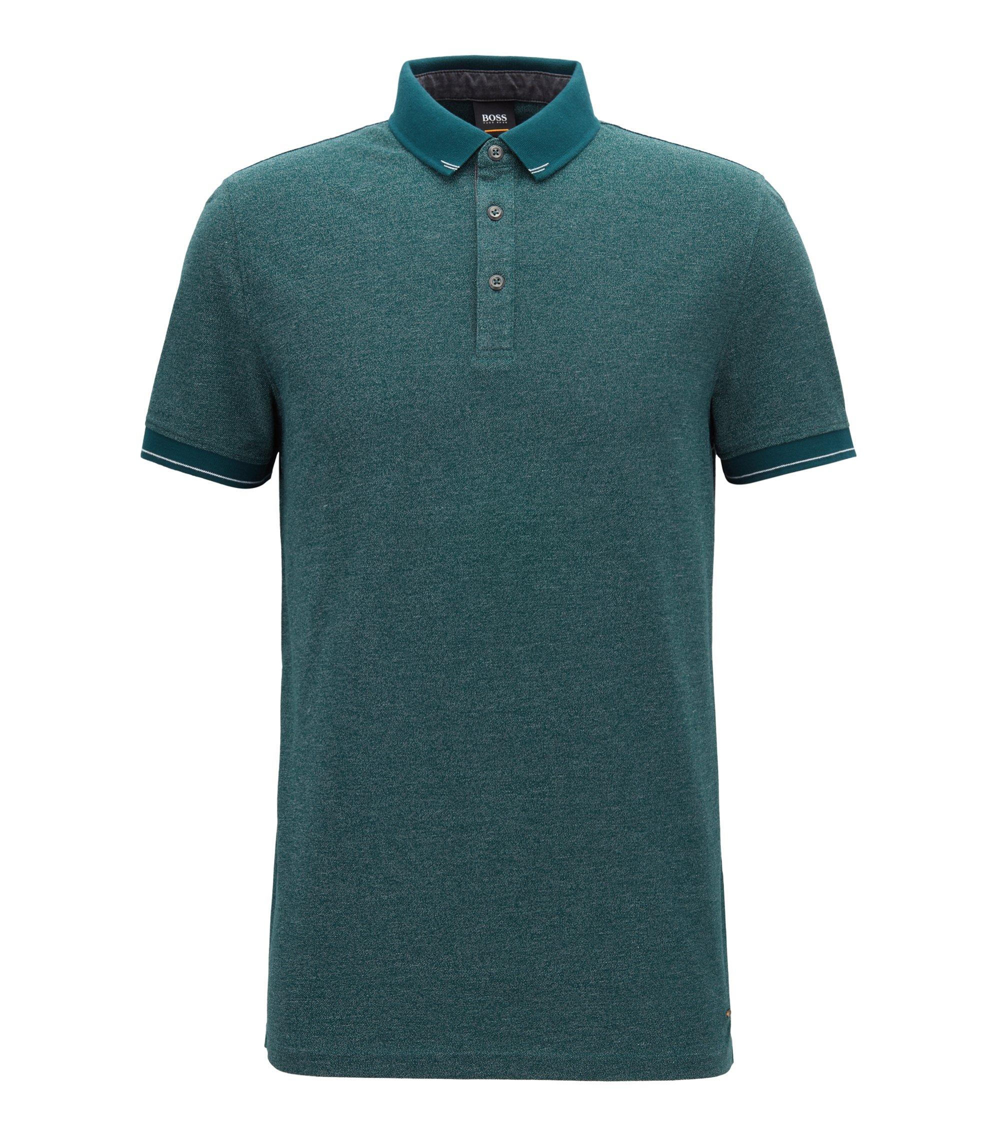 Poloshirt in Denim-Optik mit kontrastfarbenen Details, Dunkelgrün