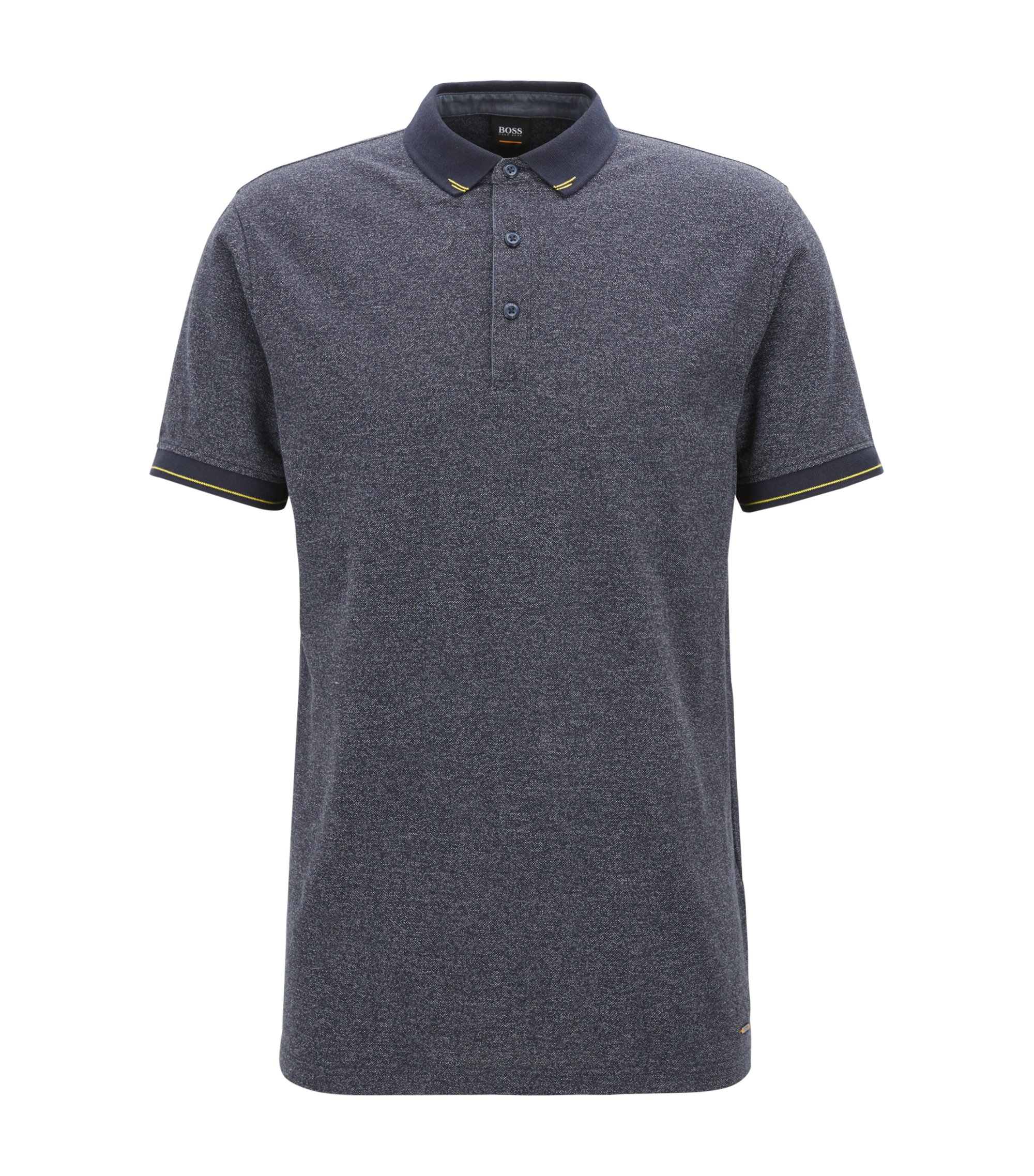Polo in denimlook met contrastdetails, Donkerblauw