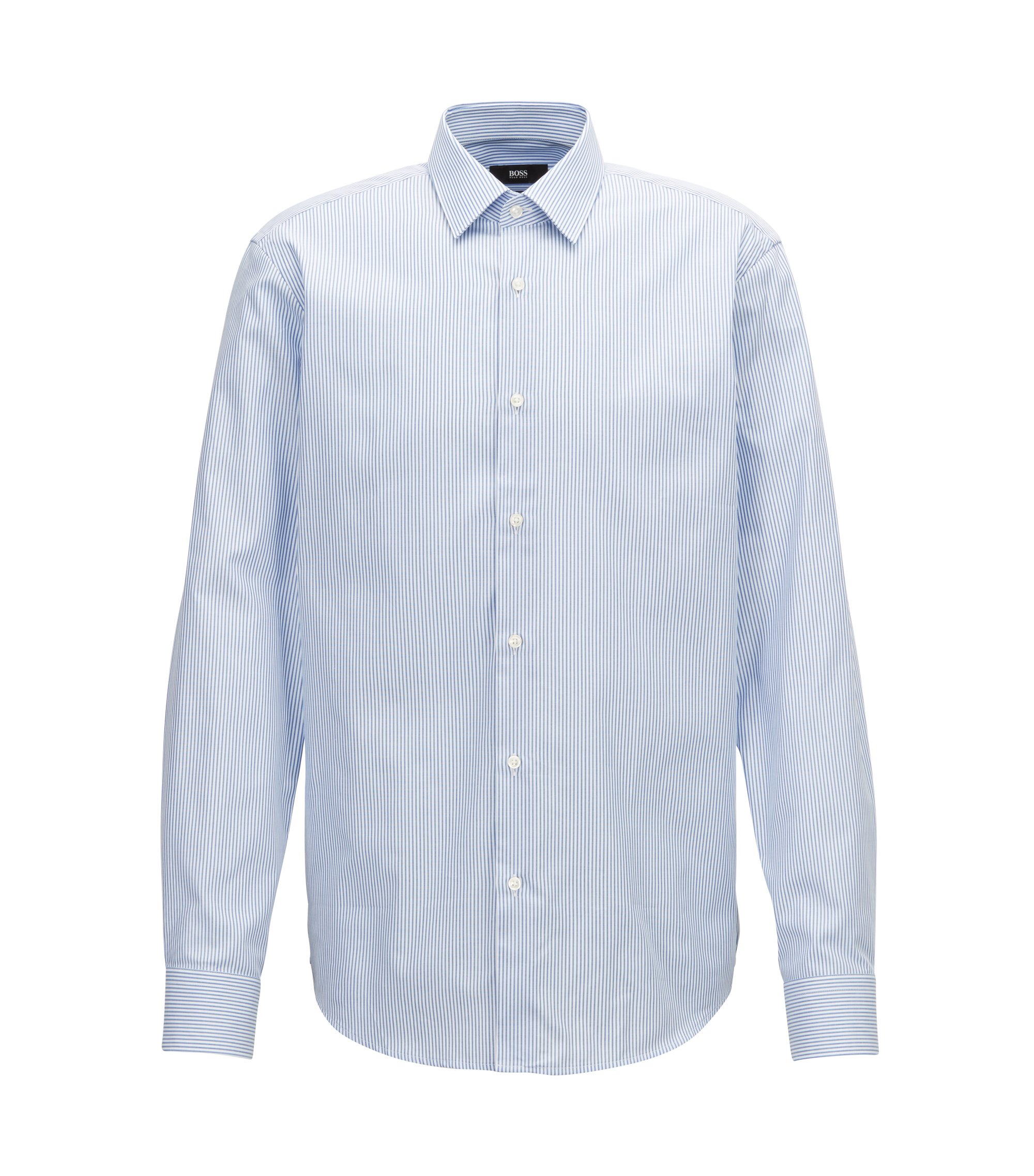 Two-colour striped shirt in pure Oxford cotton, Blue