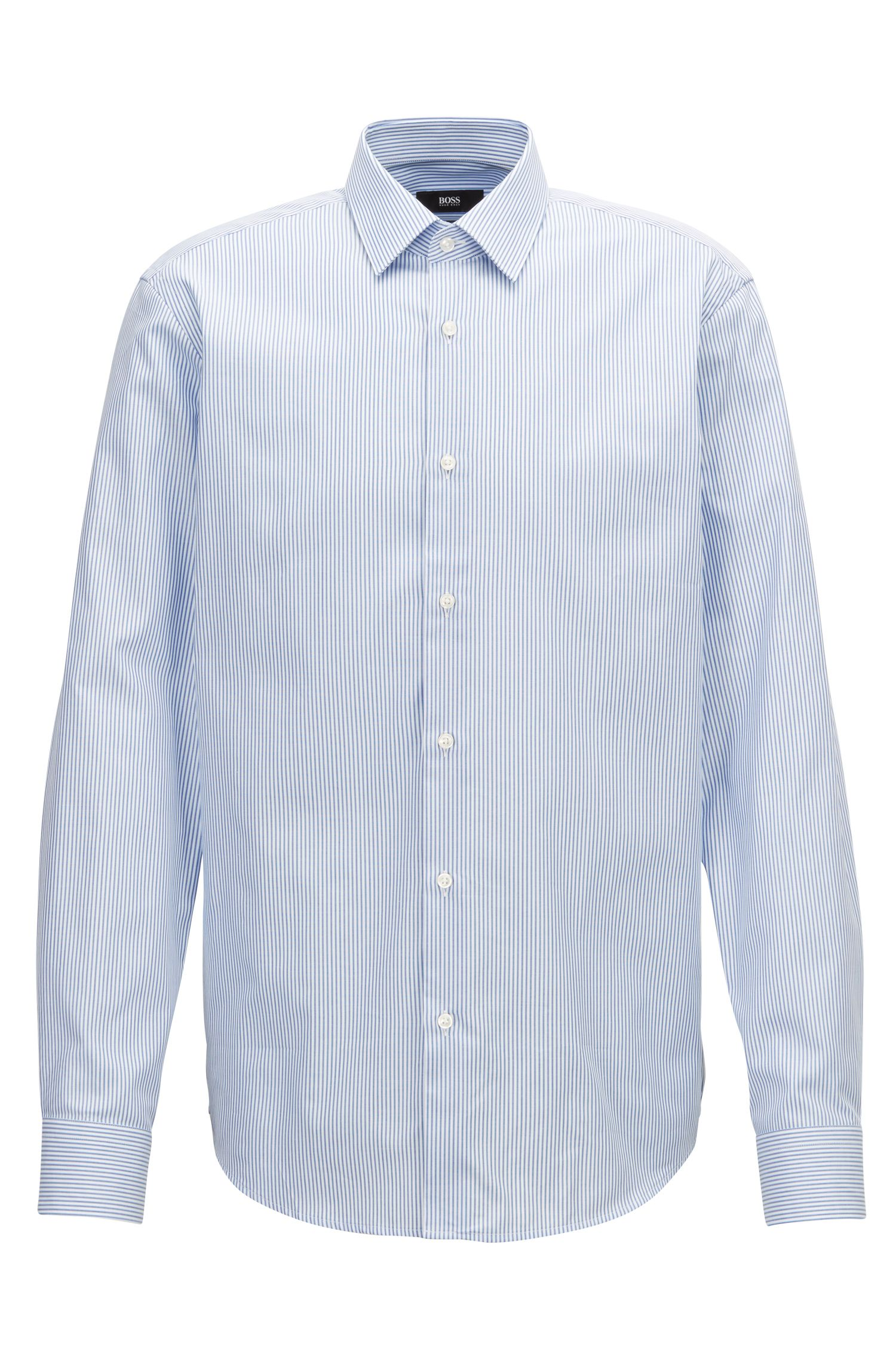 Tweekleurig gestreept overhemd van zuivere Oxfordkatoen, Blauw