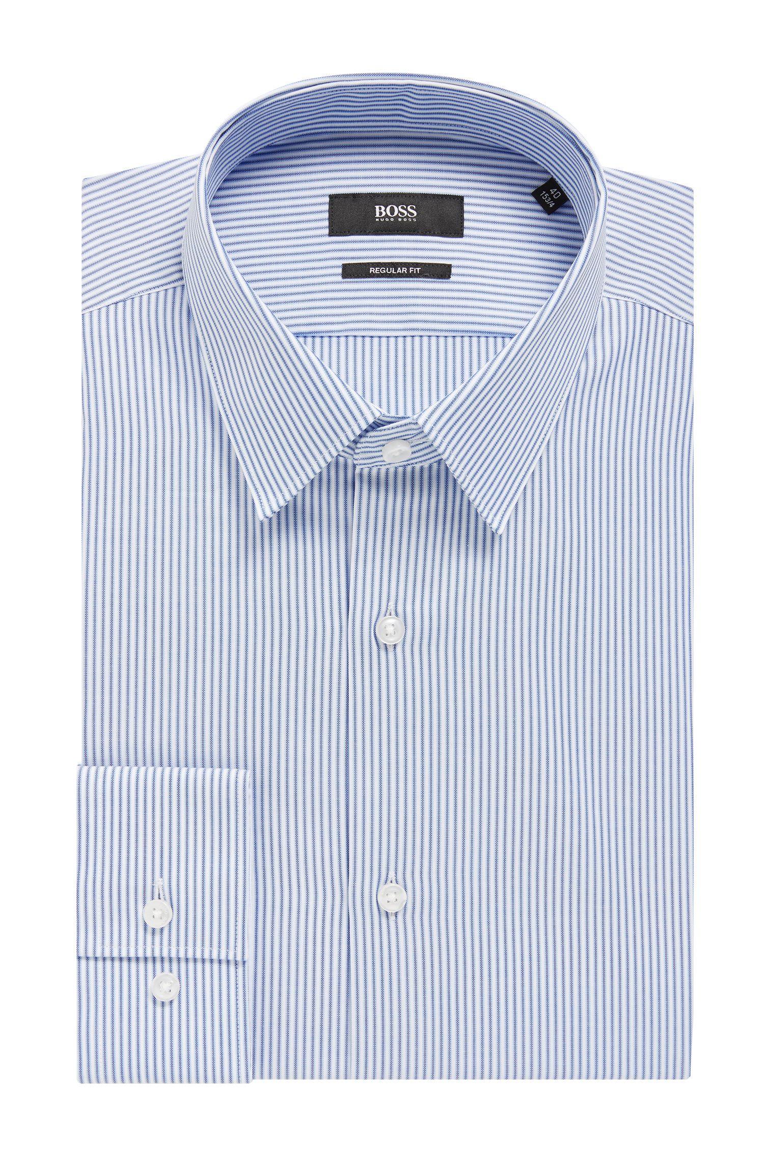 Chemise à rayures bicolores en pur coton Oxford, Bleu