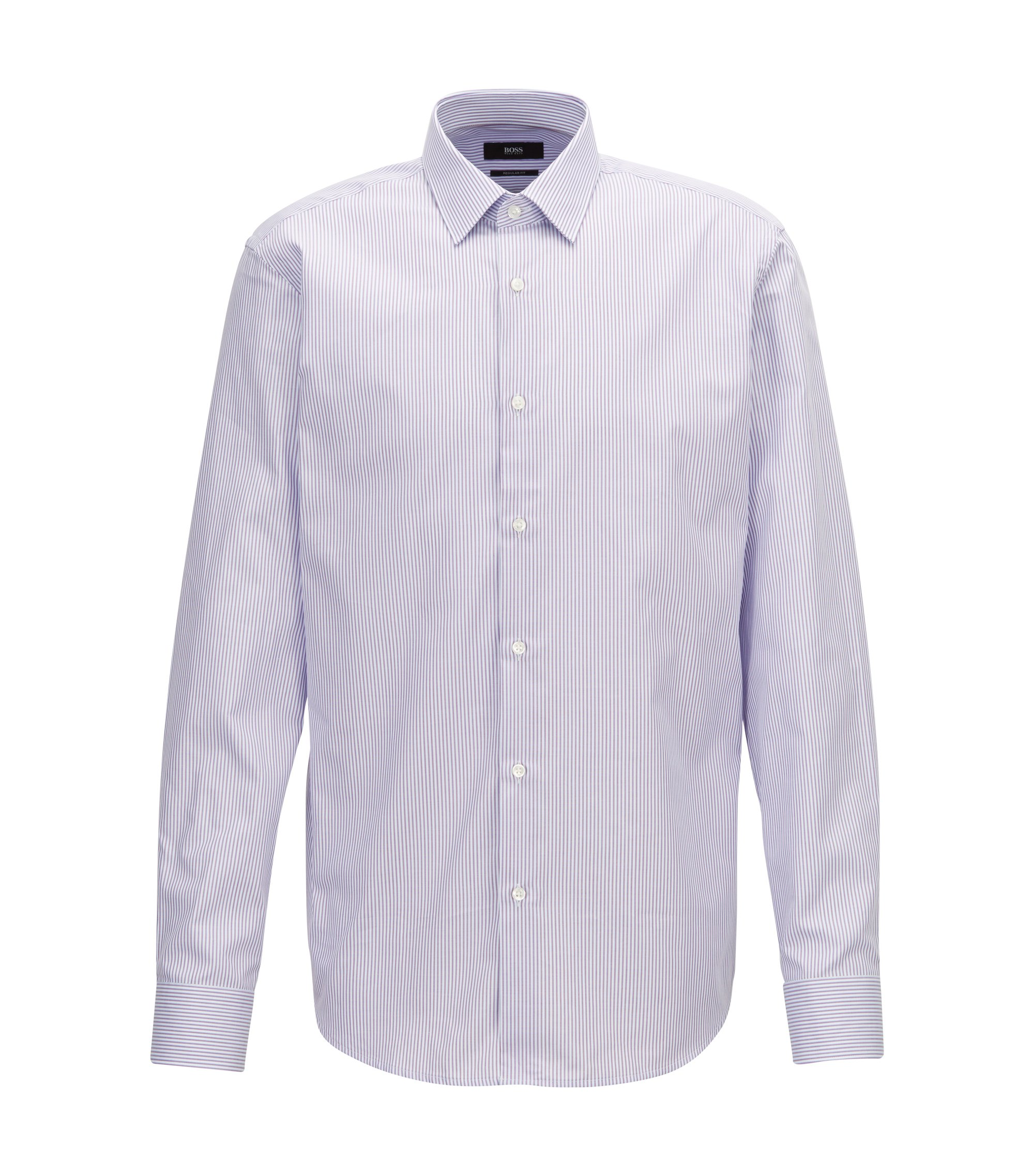 Two-colour striped shirt in pure Oxford cotton, Dark pink