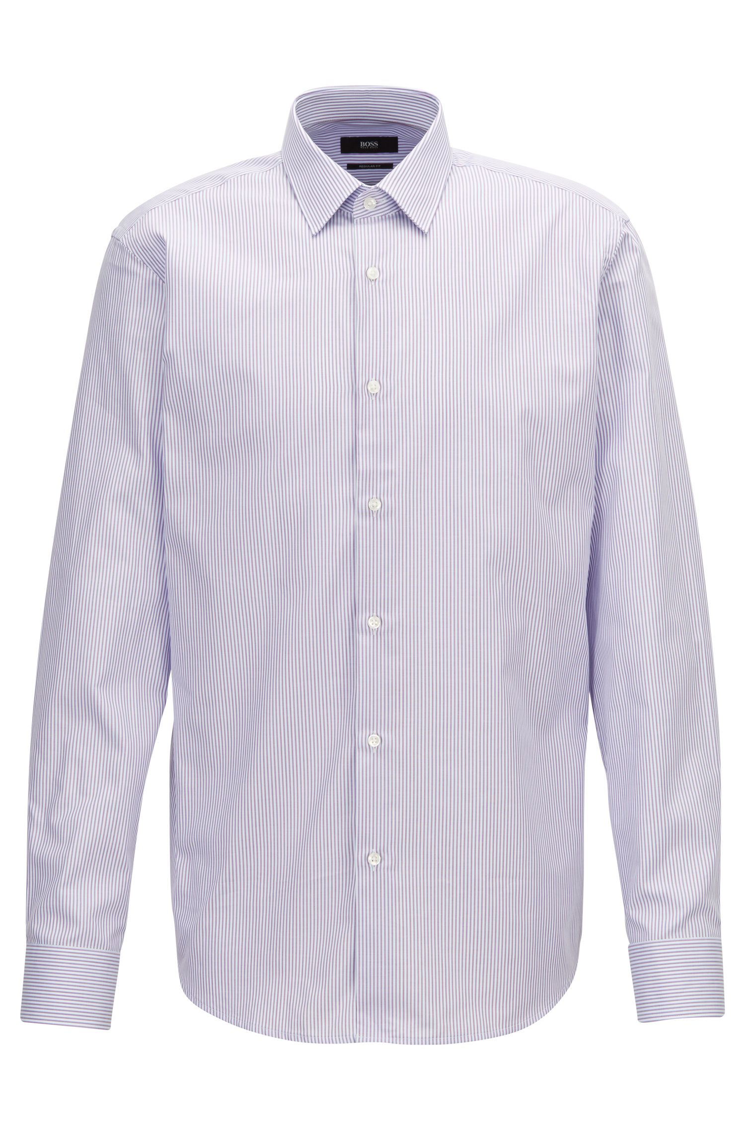 Two-colour striped shirt in pure Oxford cotton