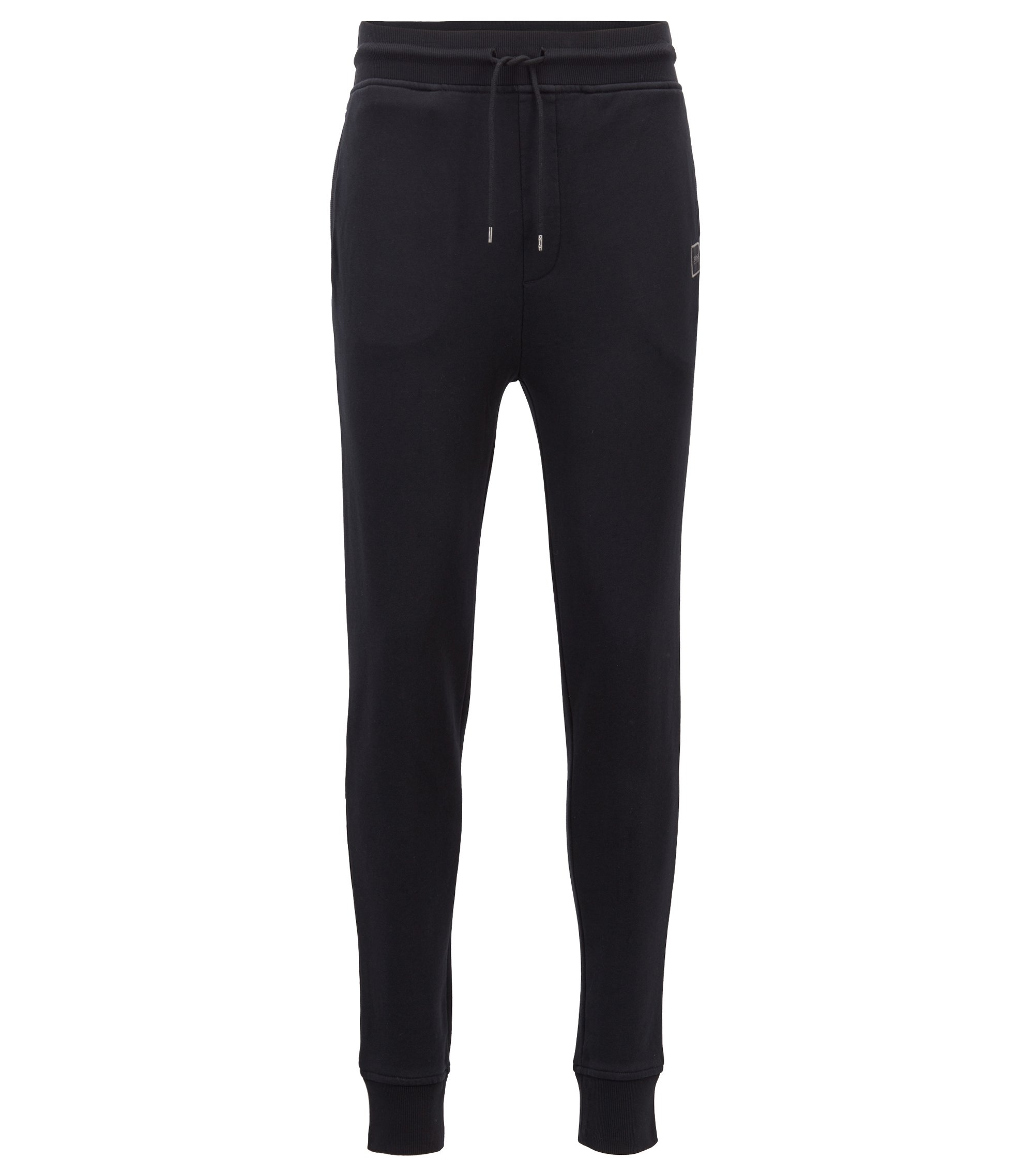 Cuffed jogging bottoms in French terry with woven logo, Black