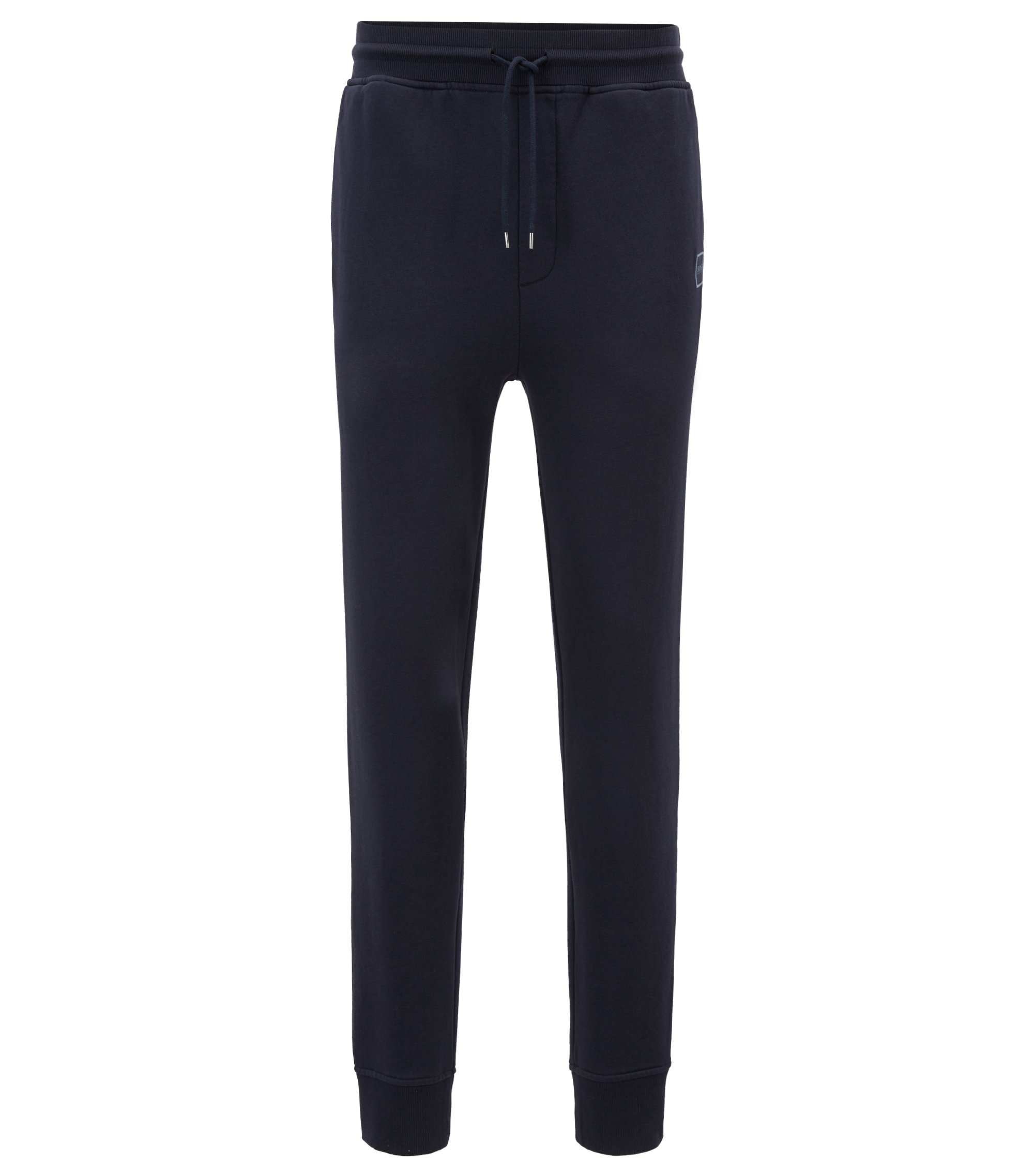 Cuffed jogging bottoms in French terry with woven logo, Dark Blue