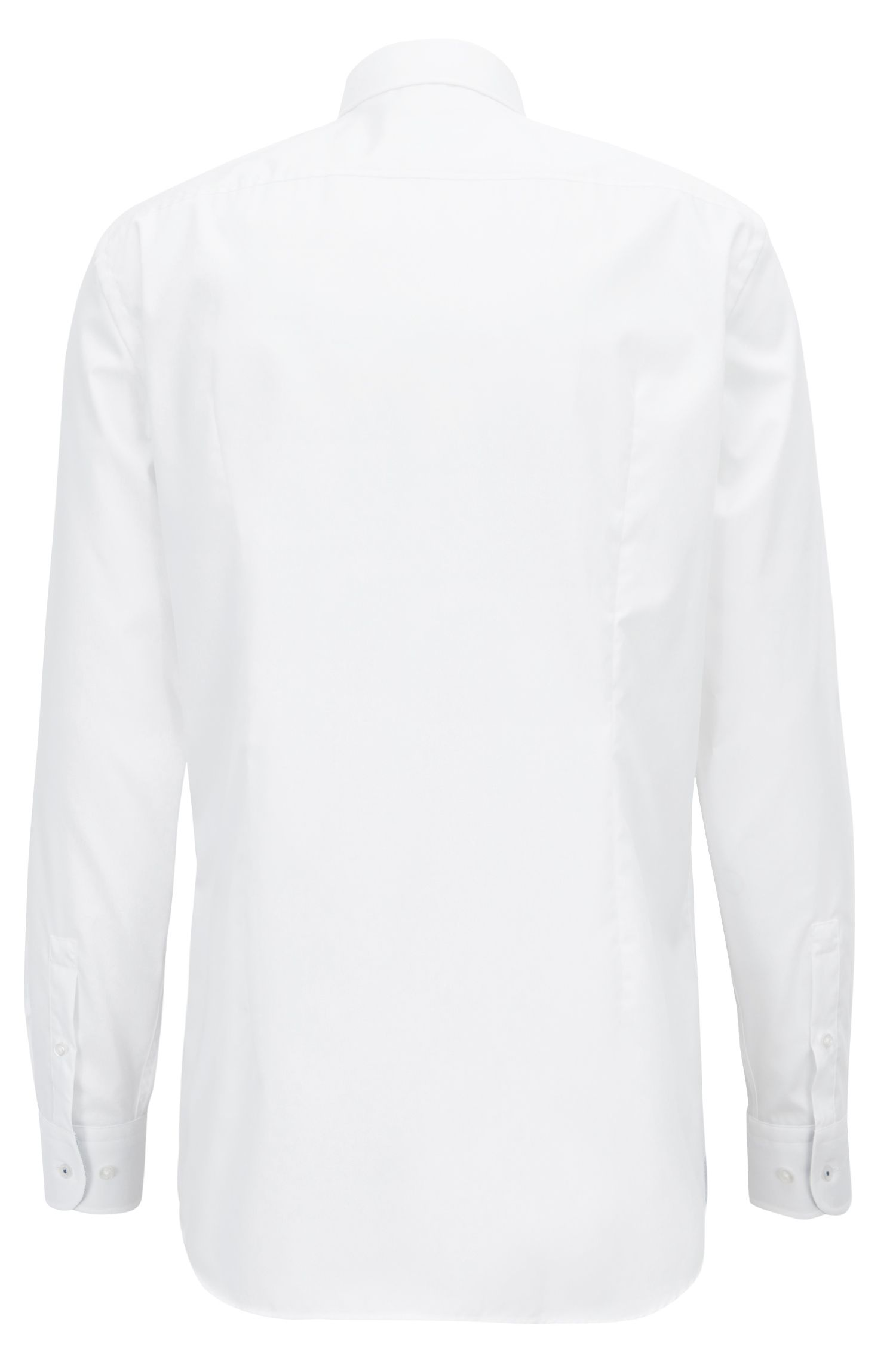 Camicia slim fit in popeline di cotone facile da stirare realizzato in Austria, Bianco