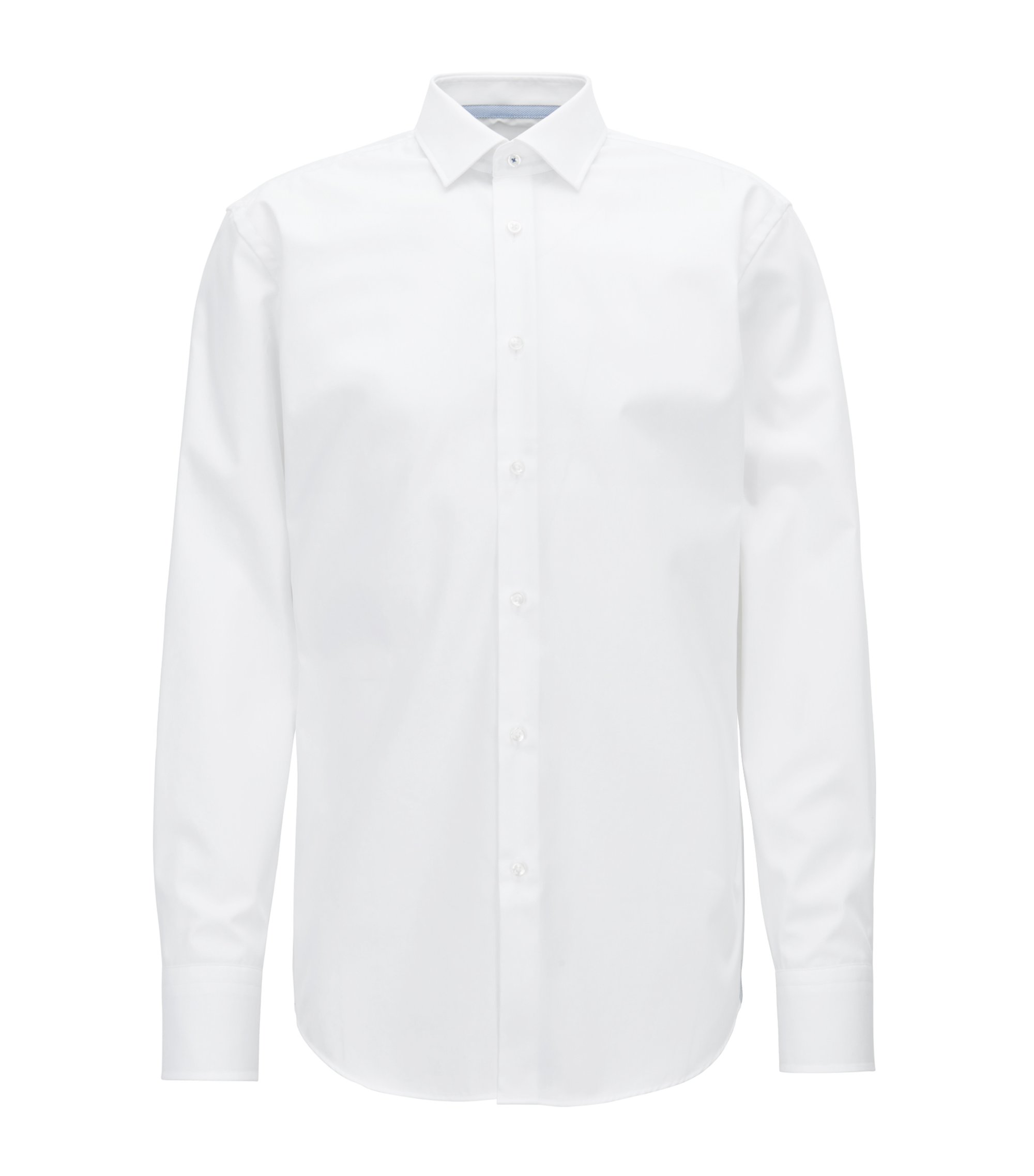 Slim-fit shirt in easy-iron Austrian cotton poplin, White