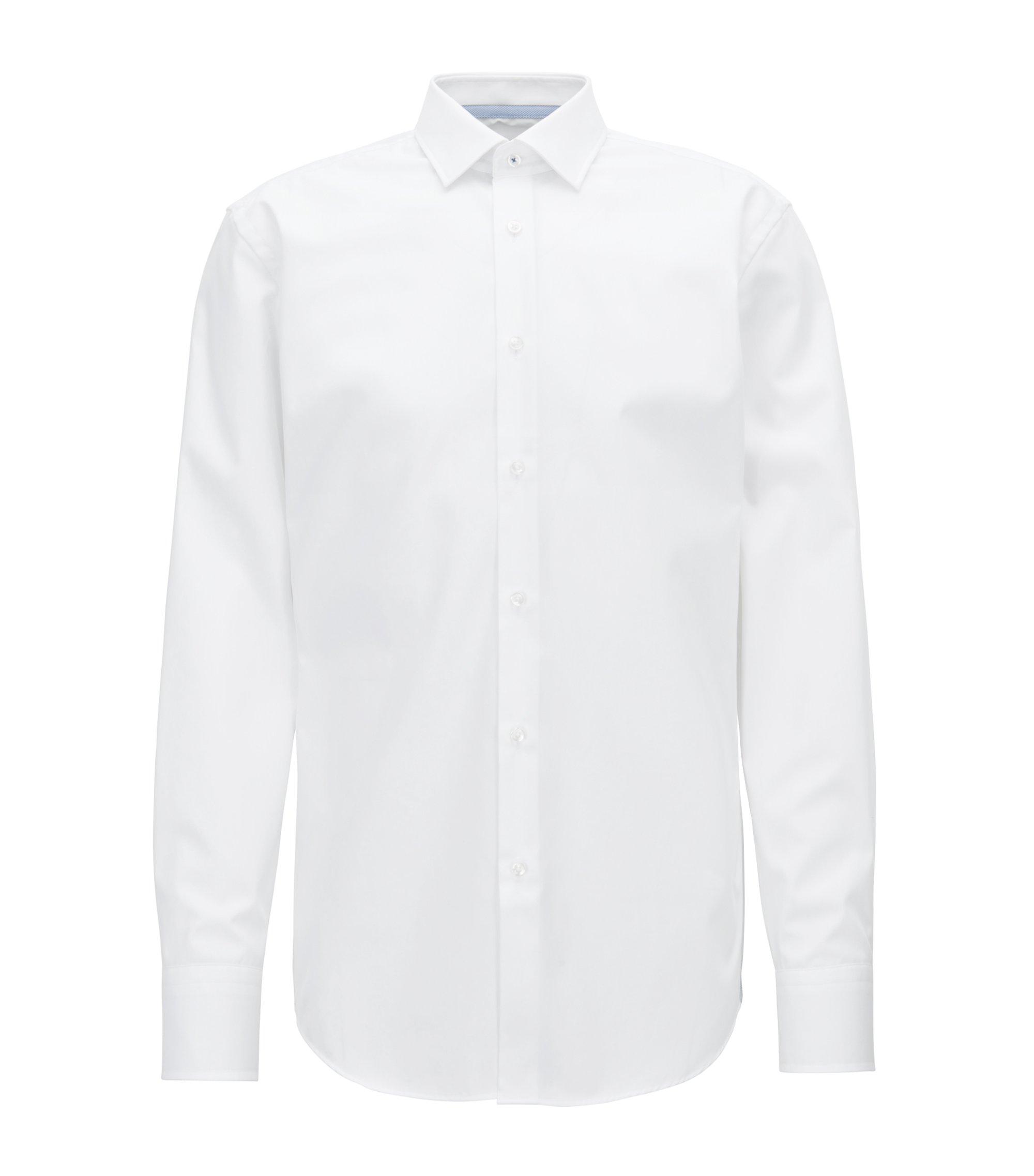 Camisa slim fit en popelín de algodón austriaco de planchado fácil, Blanco