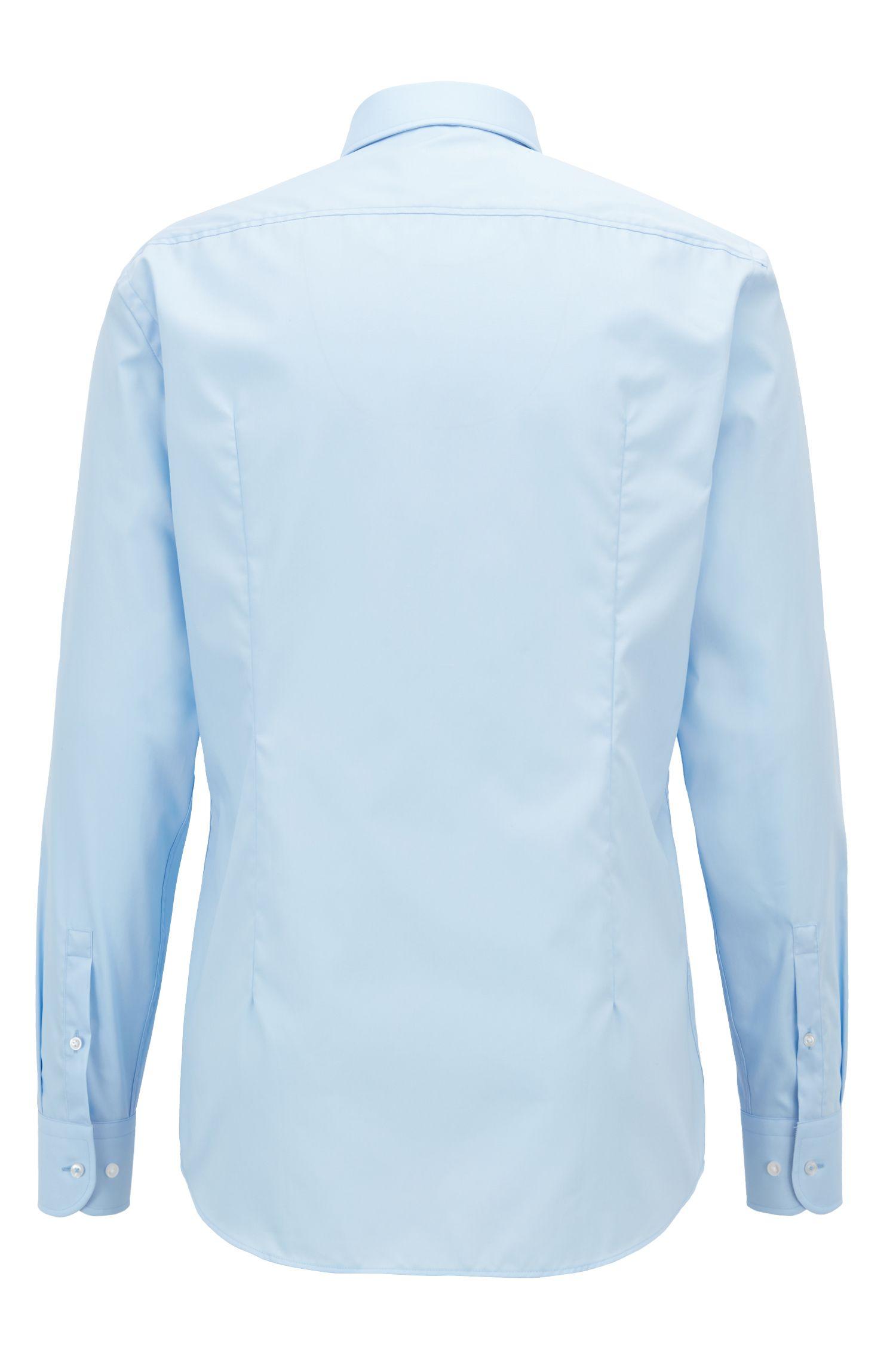 Camisa slim fit en popelín de algodón austriaco de planchado fácil, Celeste