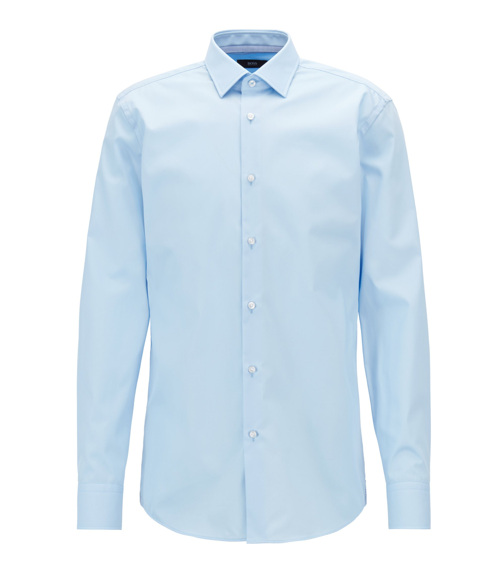 Slim-fit shirt in easy-iron Austrian cotton poplin, Light Blue