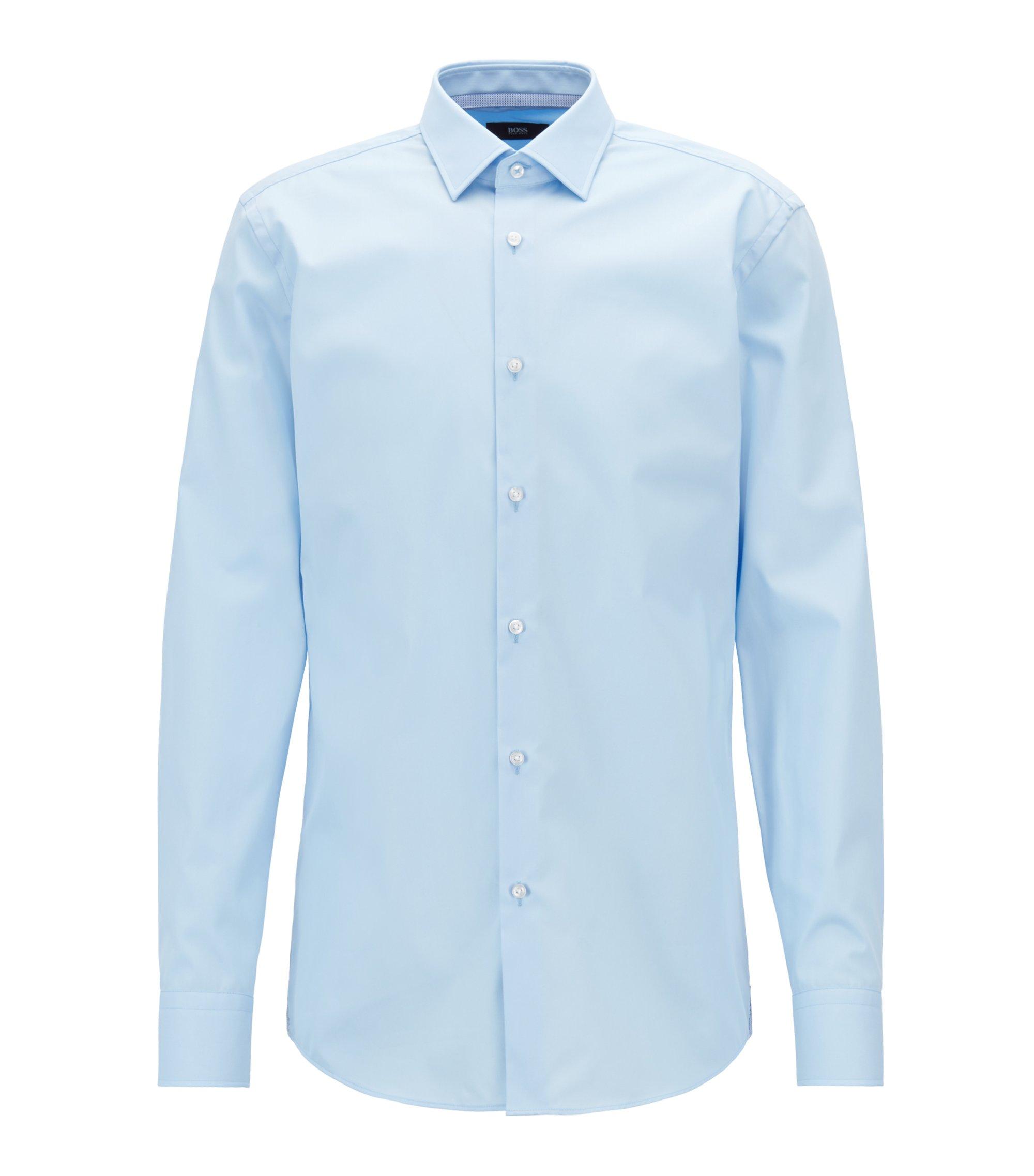 Slim-Fit Hemd aus bügelleichter österreichischer Baumwolle-Popeline, Hellblau