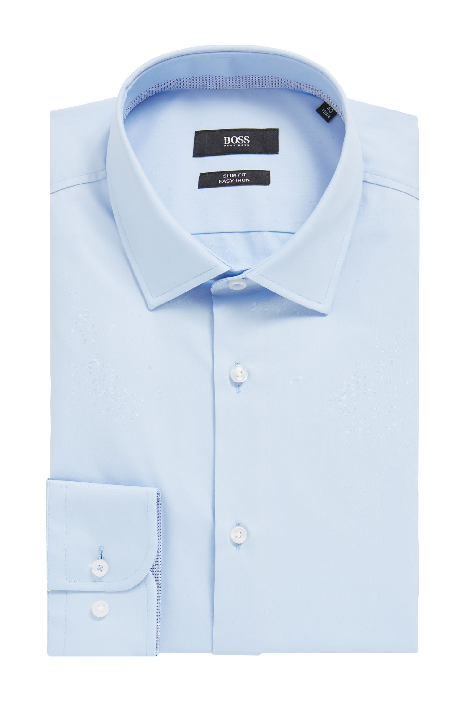 Chemise Slim Fit en popeline de coton autrichien facile à repasser, Bleu vif