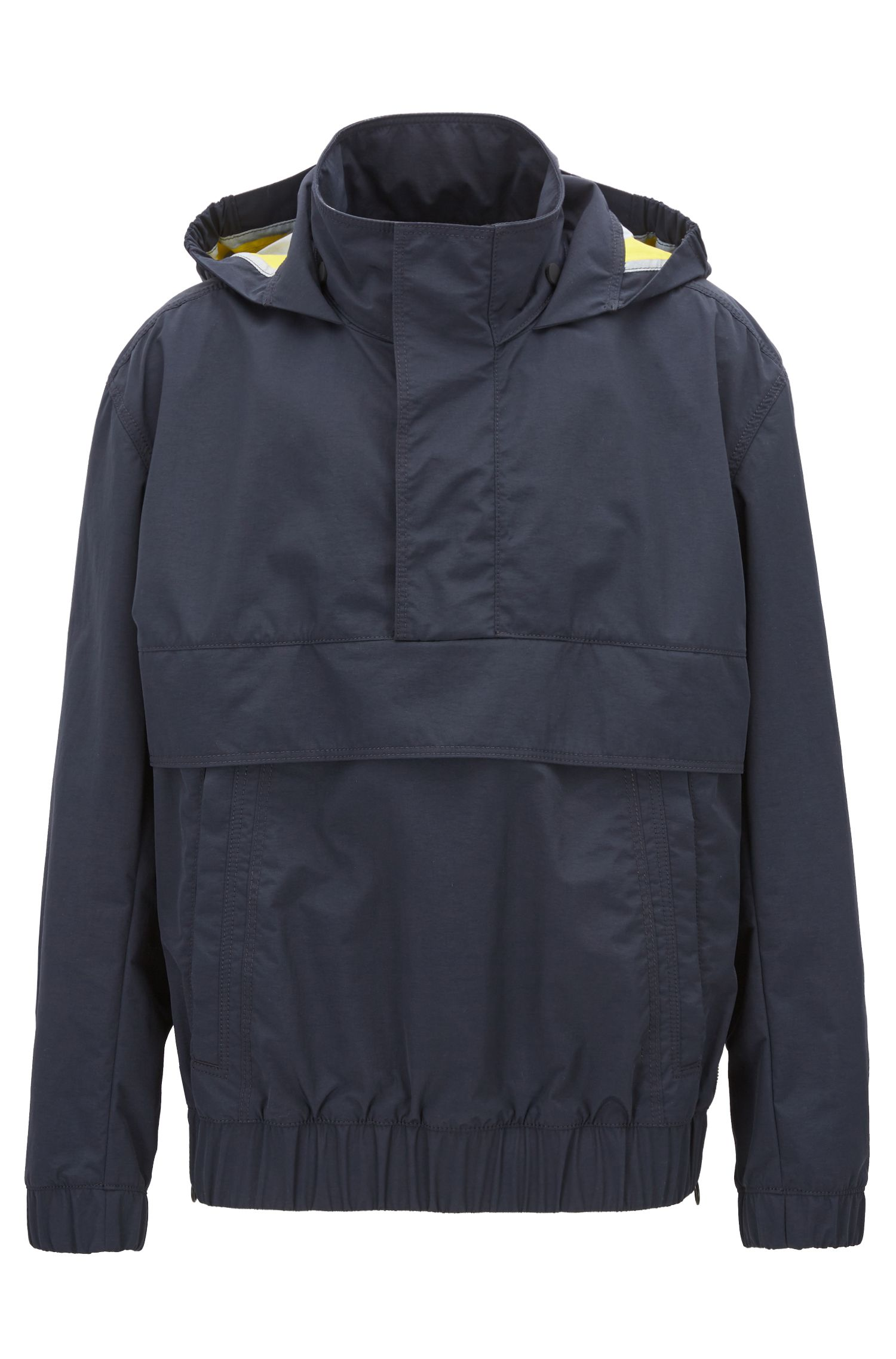 Waterproof overhead jacket in two-layer Italian fabric