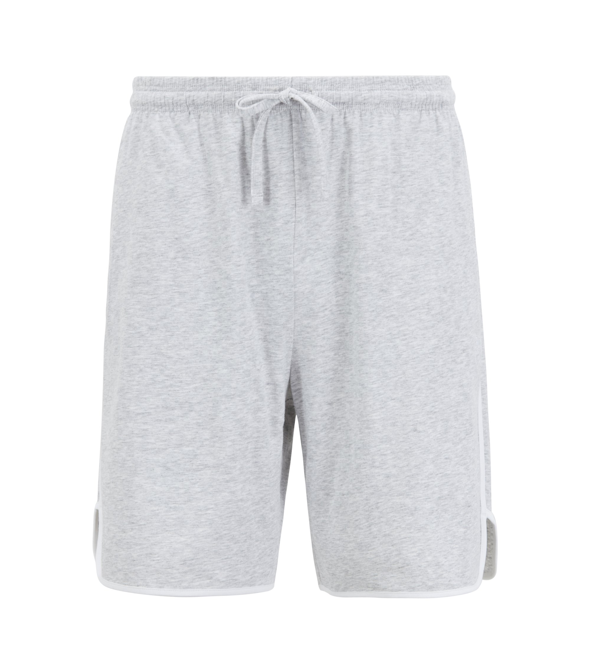 Loungewear-Shorts aus Single Jersey mit kontrastfarbenen Paspeln, Grau