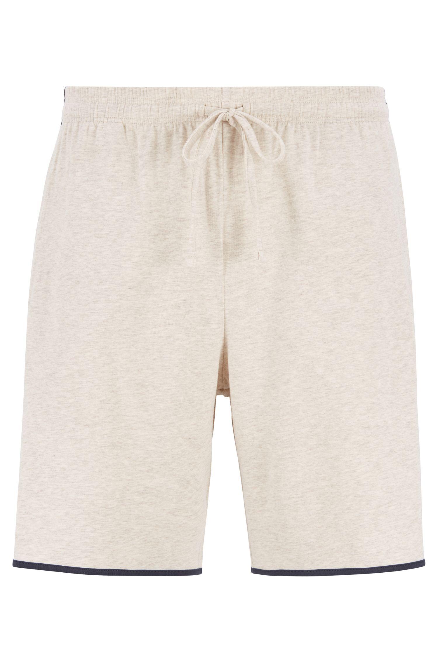 Loungewearshort van stretchkatoen met contrasterende biezen, Lichtgrijs