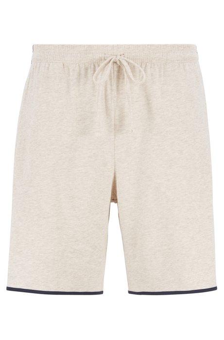 Loungewear-Shortsaus Single Jersey mit kontrastfarbenen Paspeln, Hellgrau