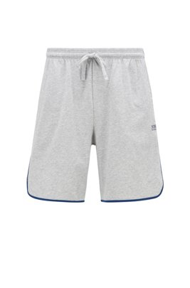 Loungewear shorts in stretch cotton with contrast piping, Light Grey