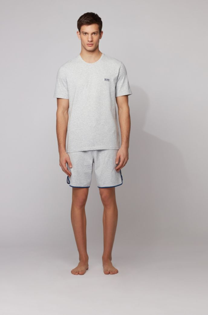 Loungewear shorts in stretch cotton with contrast piping