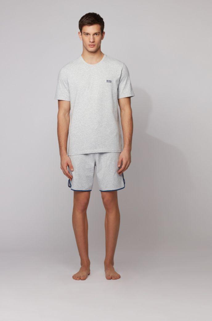 Loungewearshort van stretchkatoen met contrasterende biezen