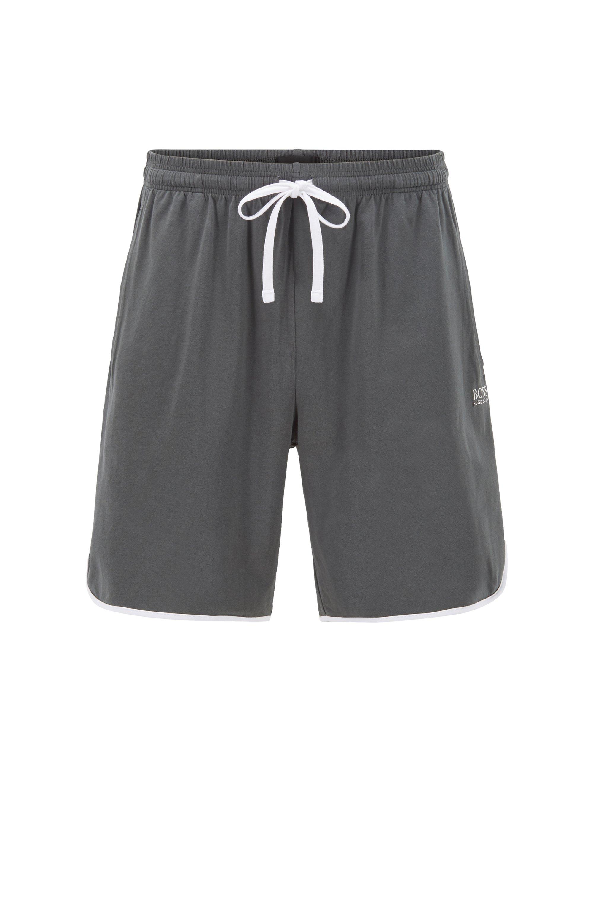 Loungewear-Shortsaus Single Jersey mit kontrastfarbenen Paspeln, Dunkelgrau