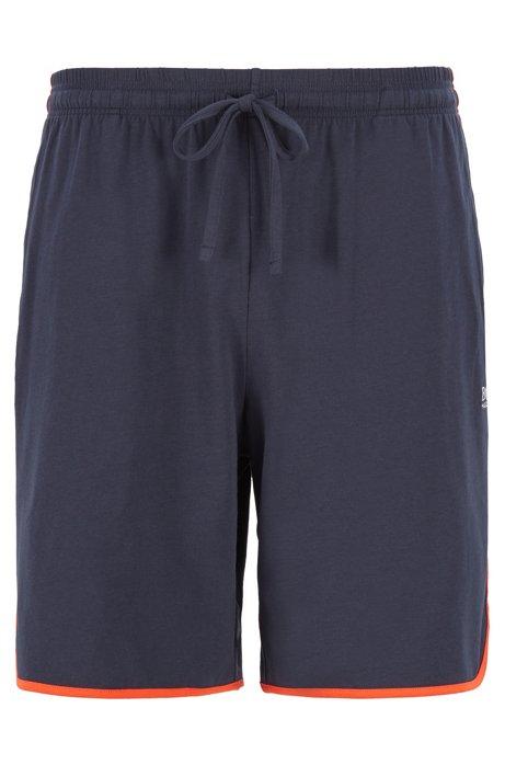 Shorts loungewear en algodón elástico con ribeteado en contraste, Azul oscuro