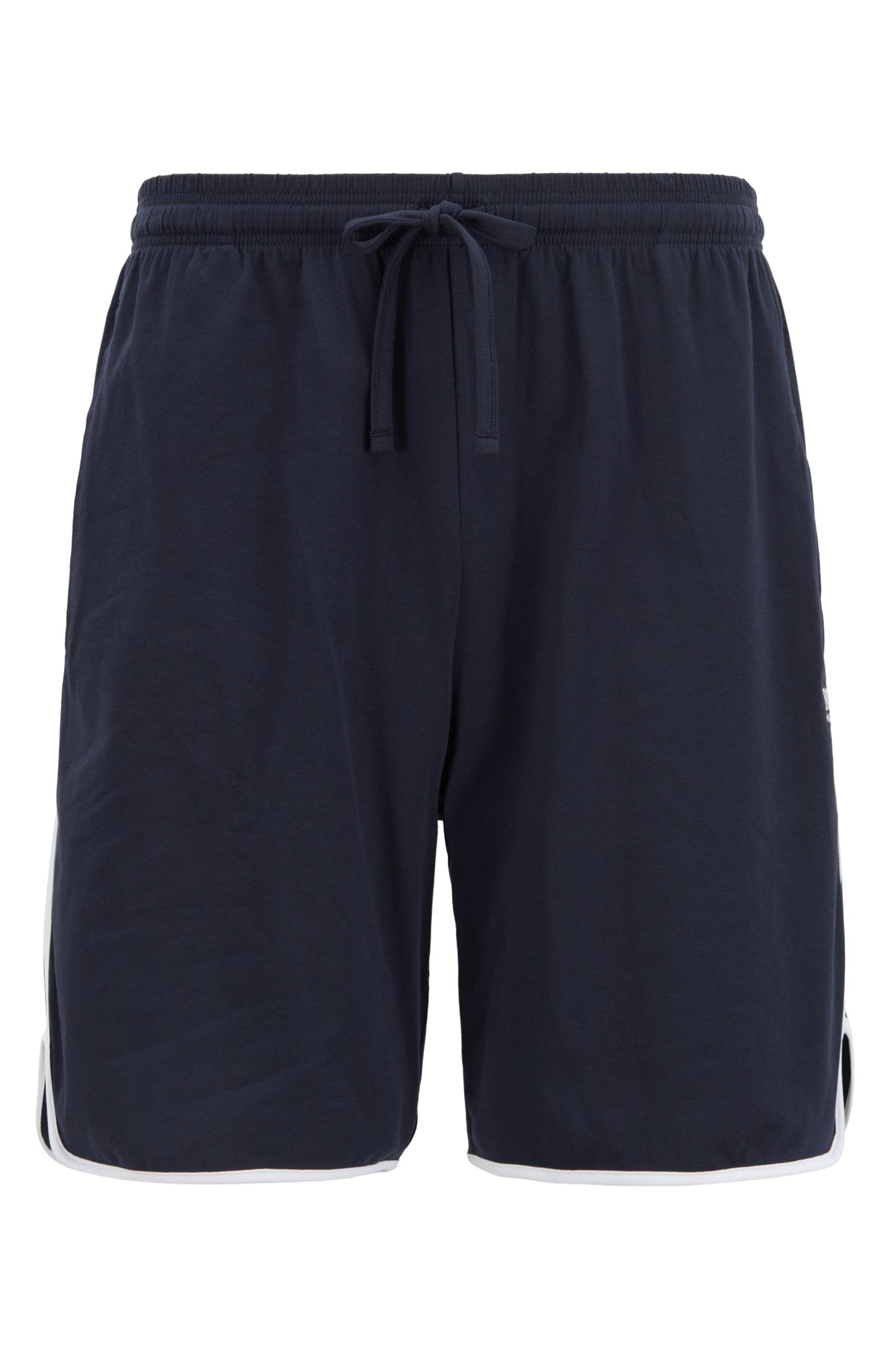 Loungewear shorts in stretch cotton with contrast piping, Dark Blue