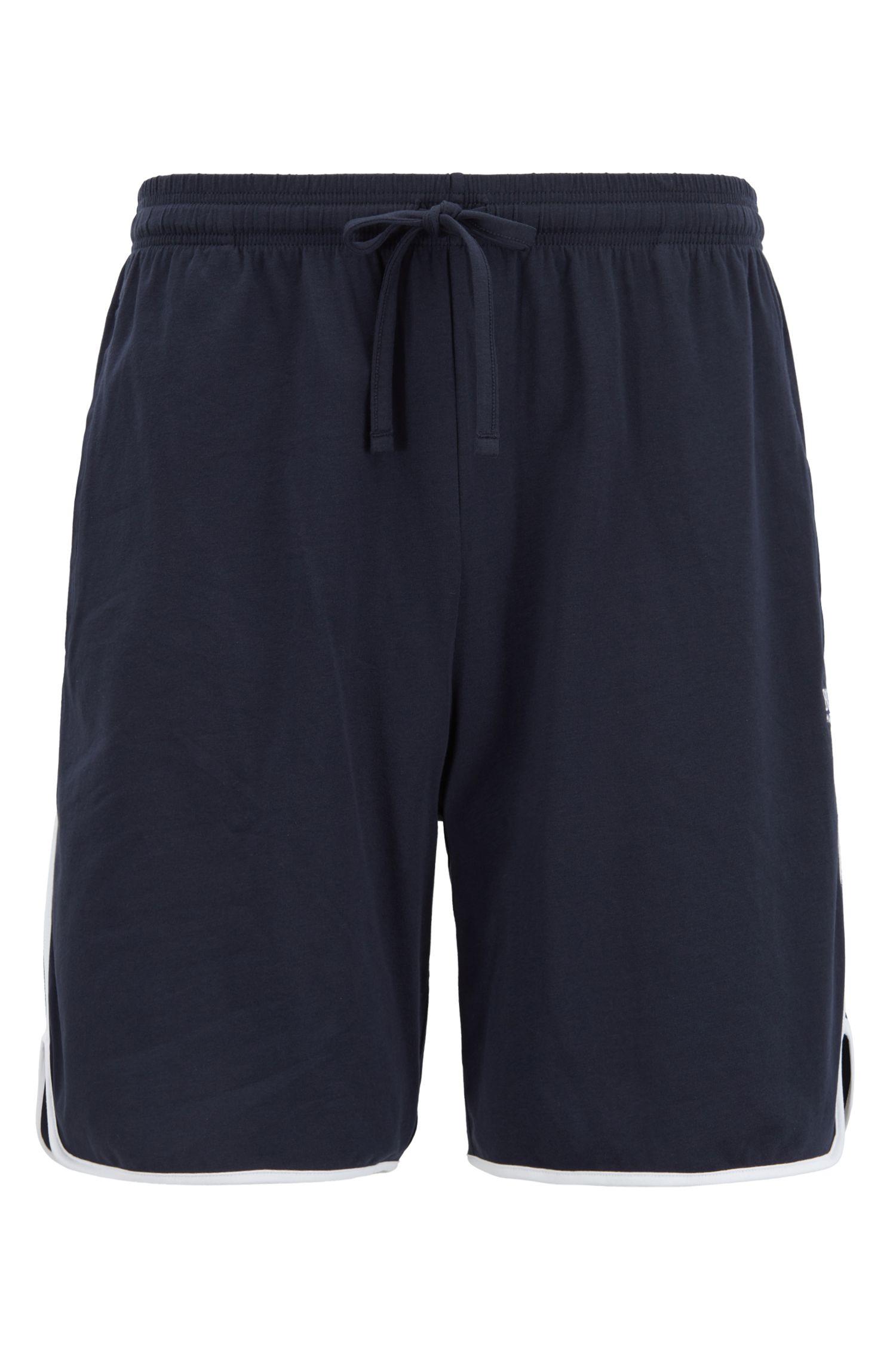 Short d'intérieur en coton stretch à passepoils contrastants, Bleu foncé