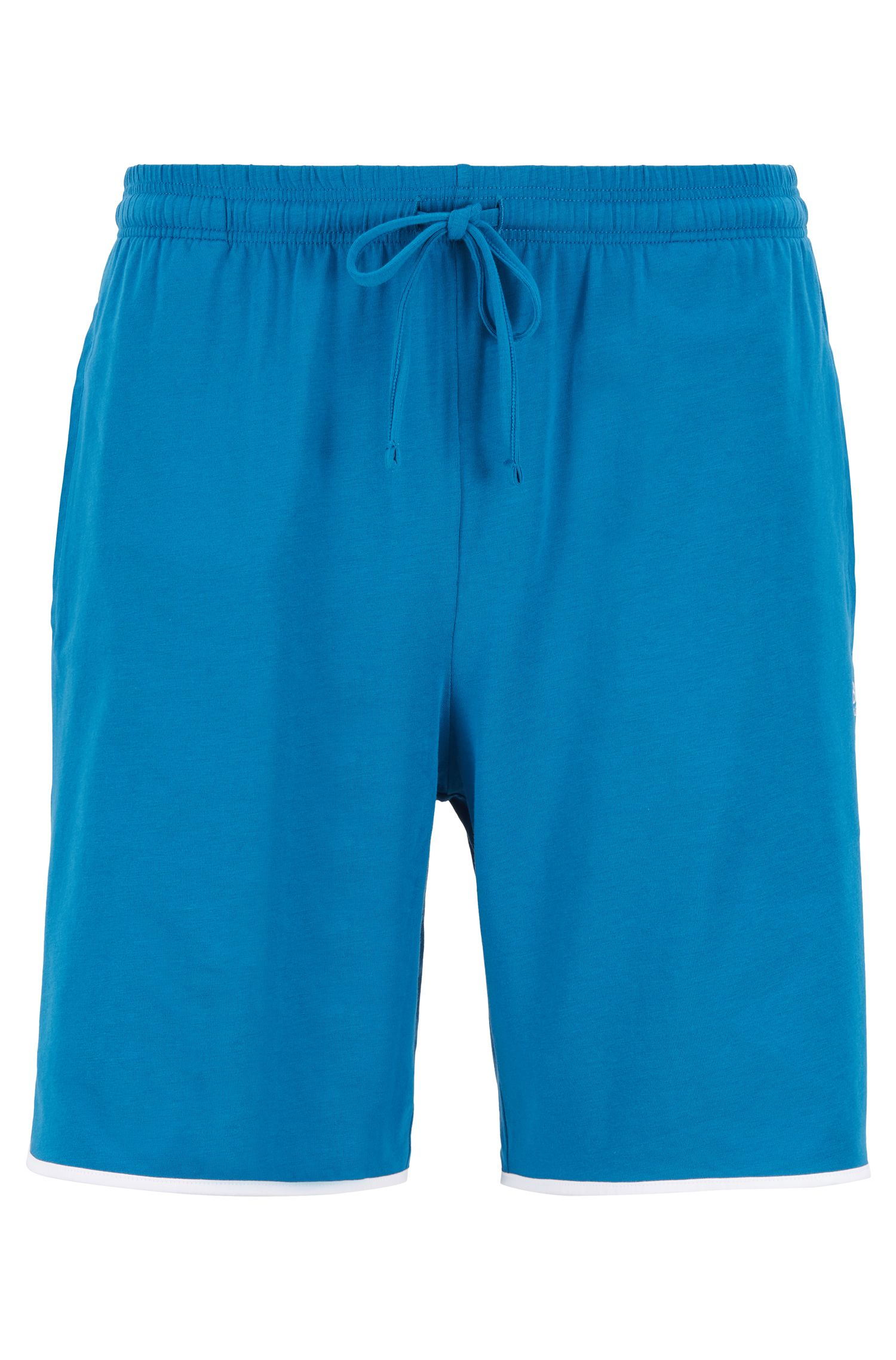 Loungewear shorts in stretch cotton with contrast piping, Turquoise