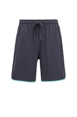 Loungewear shorts in stretch cotton with contrast piping, ライトブルー