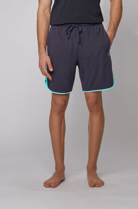 Loungewear shorts in stretch cotton with contrast piping, Light Blue
