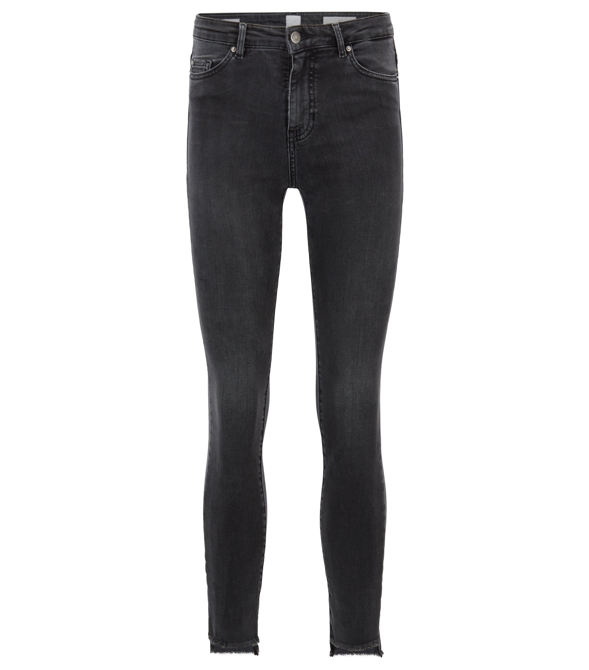 Skinny-Fit Jeans aus Power-Stretch-Denim in Cropped-Länge, Dunkelgrau