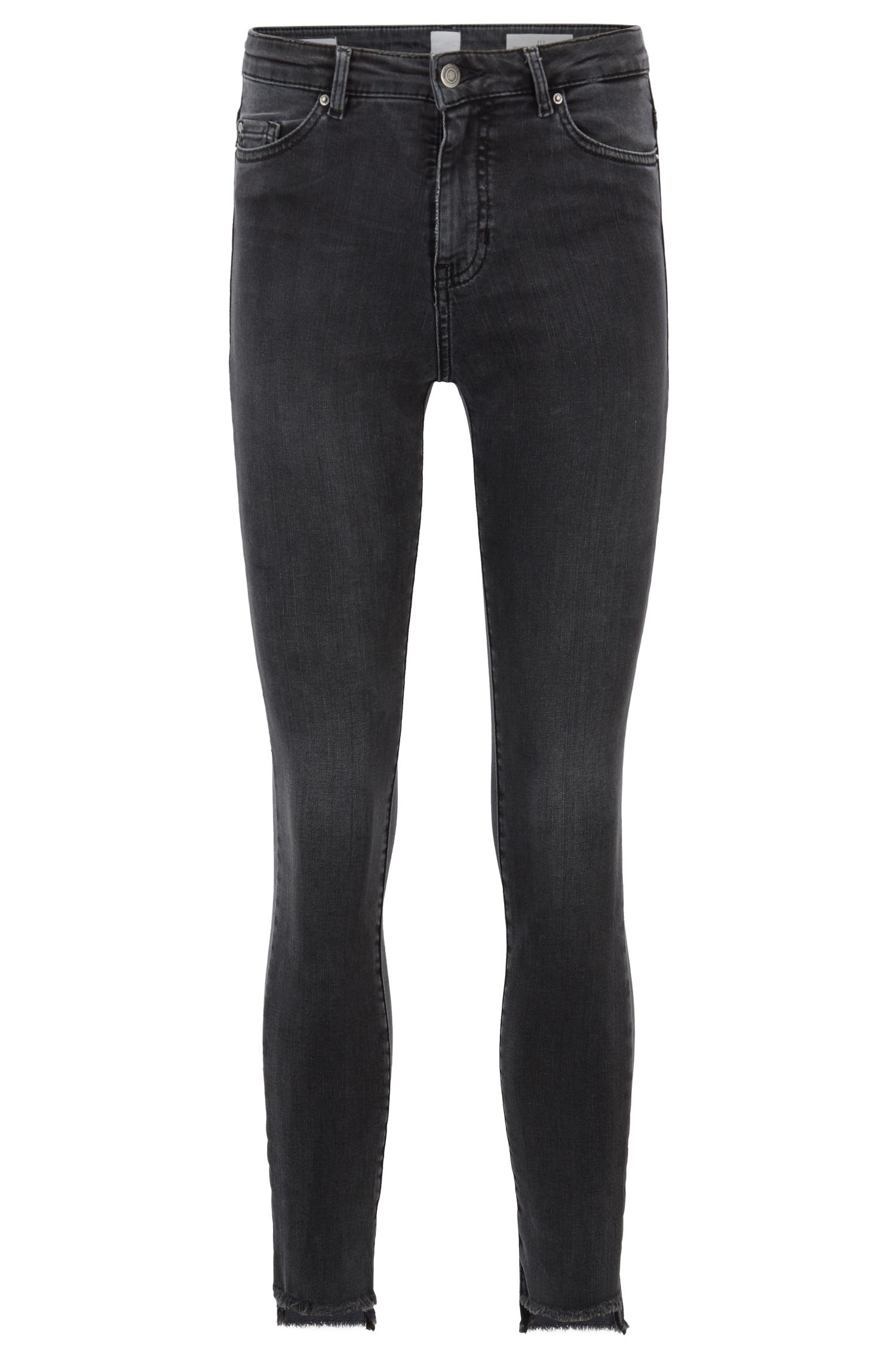 Skinny-fit cropped jeans in grey power-stretch denim, Dark Grey