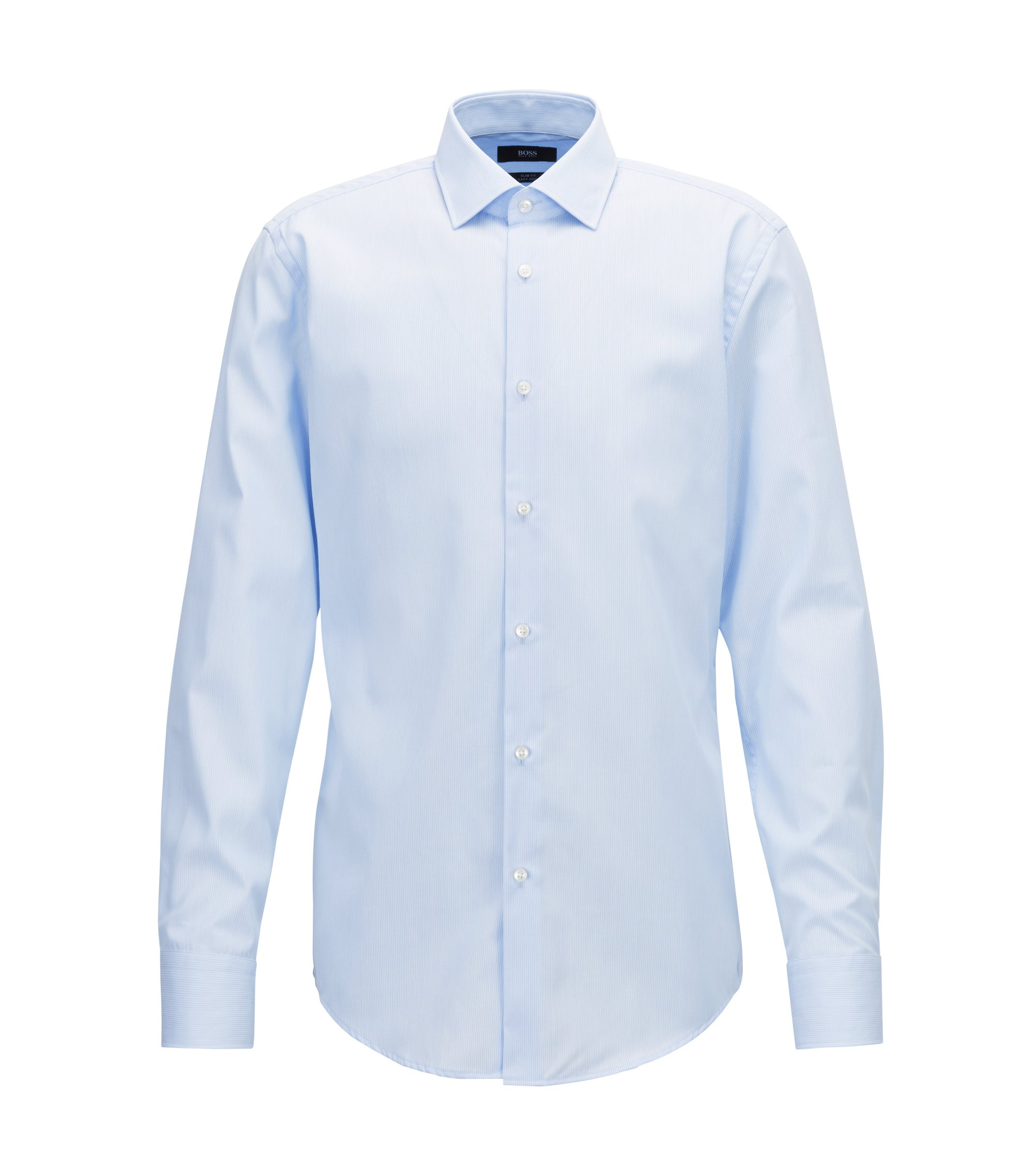 Slim-fit shirt in easy-iron striped cotton poplin, Light Blue
