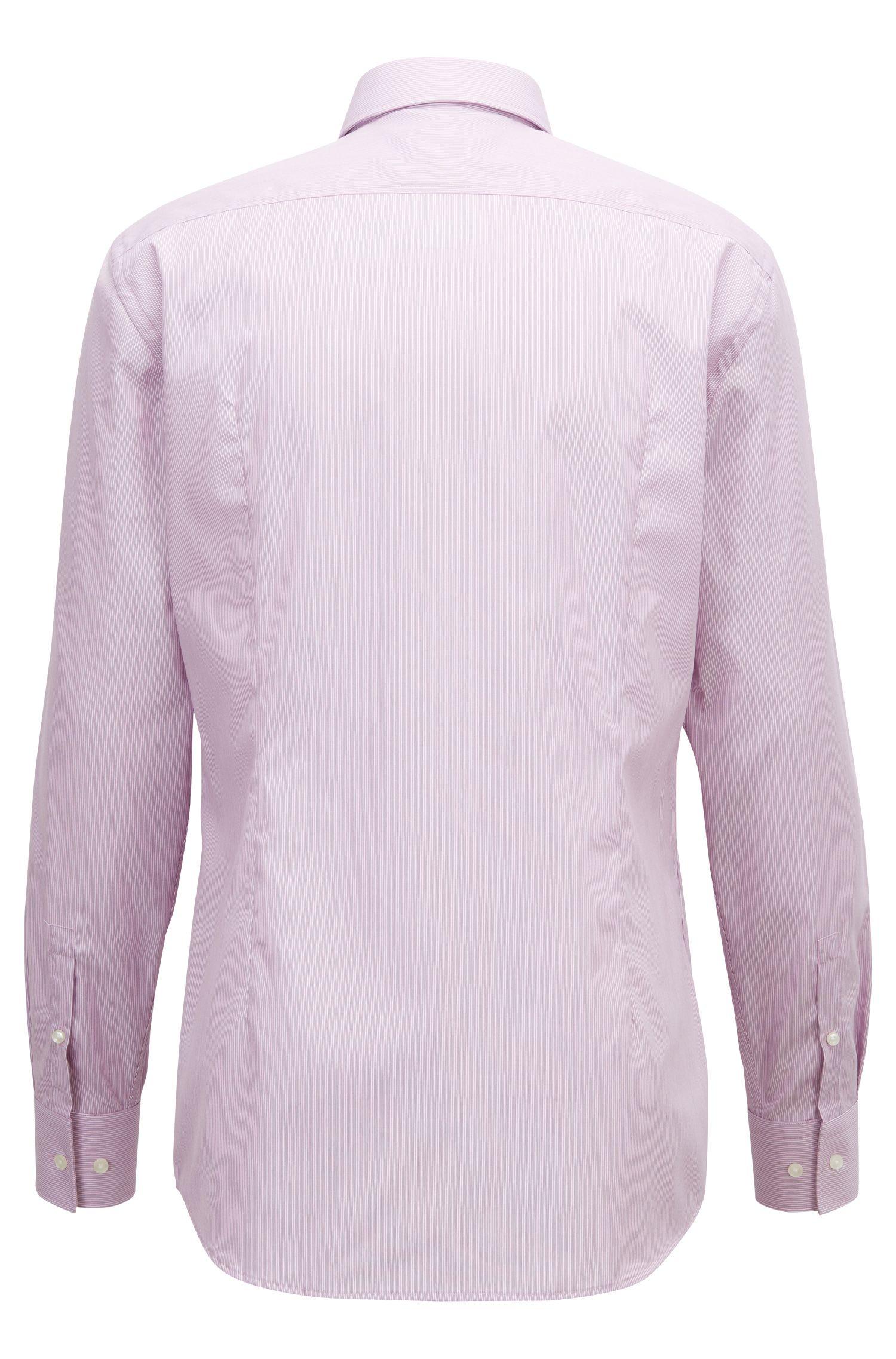 Slim-fit shirt in easy-iron striped cotton poplin, Dark pink